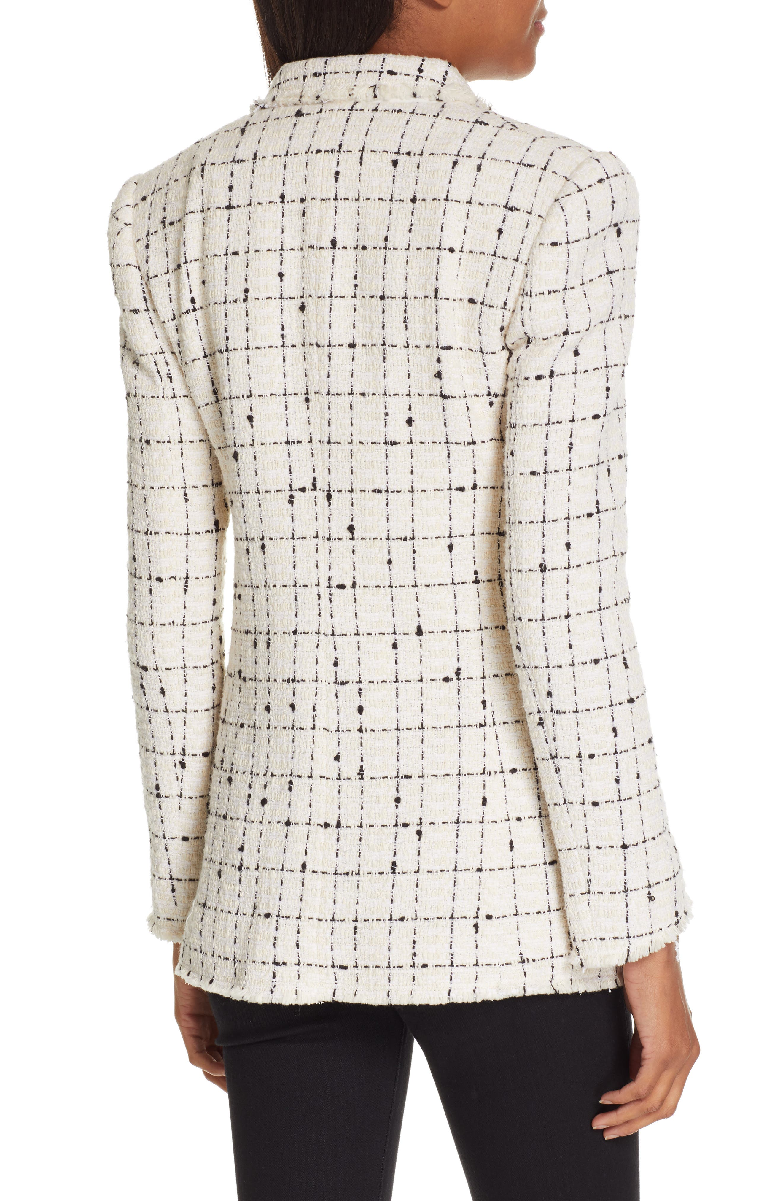REBECCA TAYLOR, Windowpane Plaid Tweed Double-Breasted Blazer, Alternate thumbnail 2, color, 902