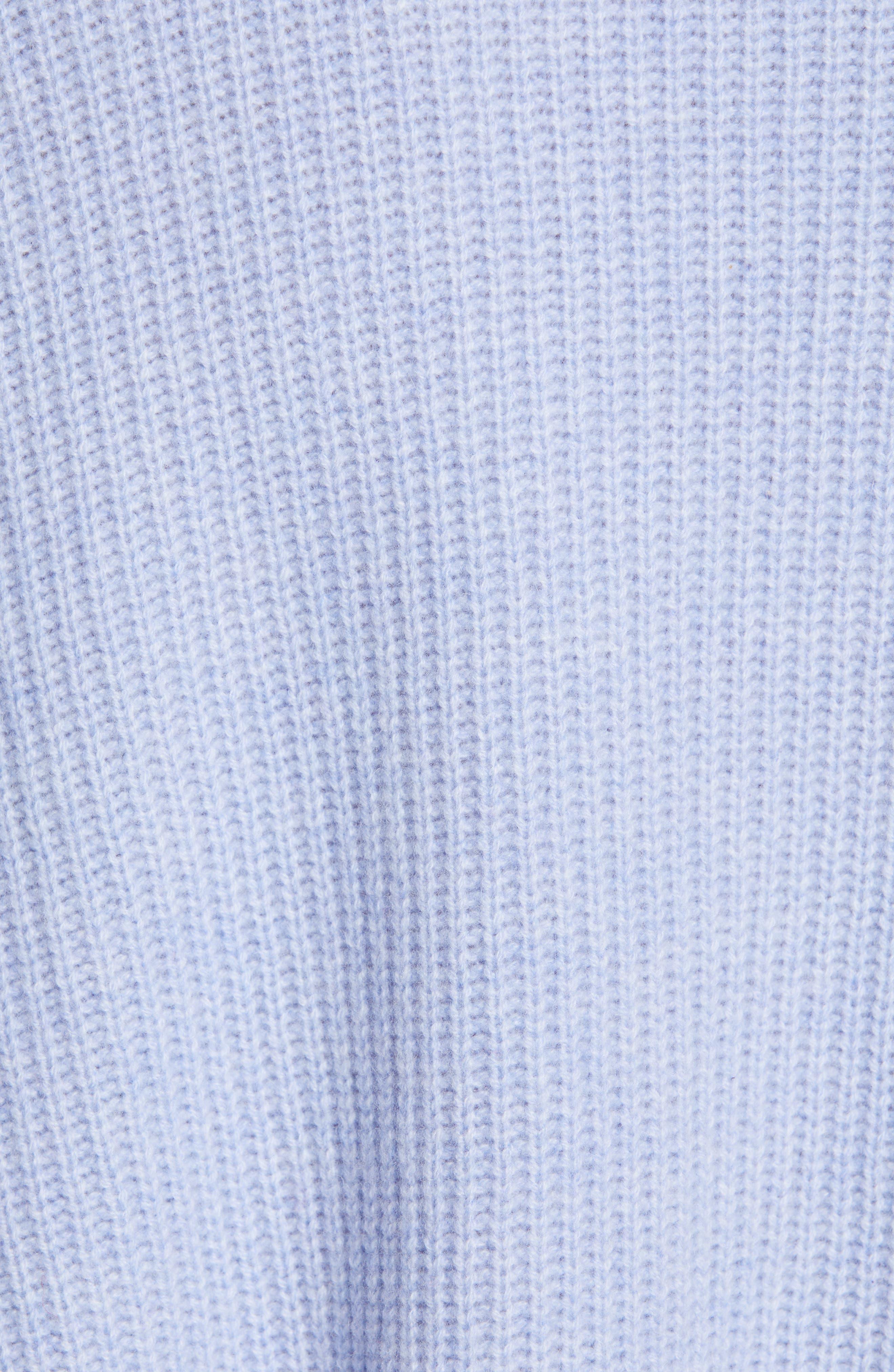 NORDSTROM SIGNATURE, Cashmere Pocket Cardigan, Alternate thumbnail 5, color, BLUE LUSTRE HEATHER