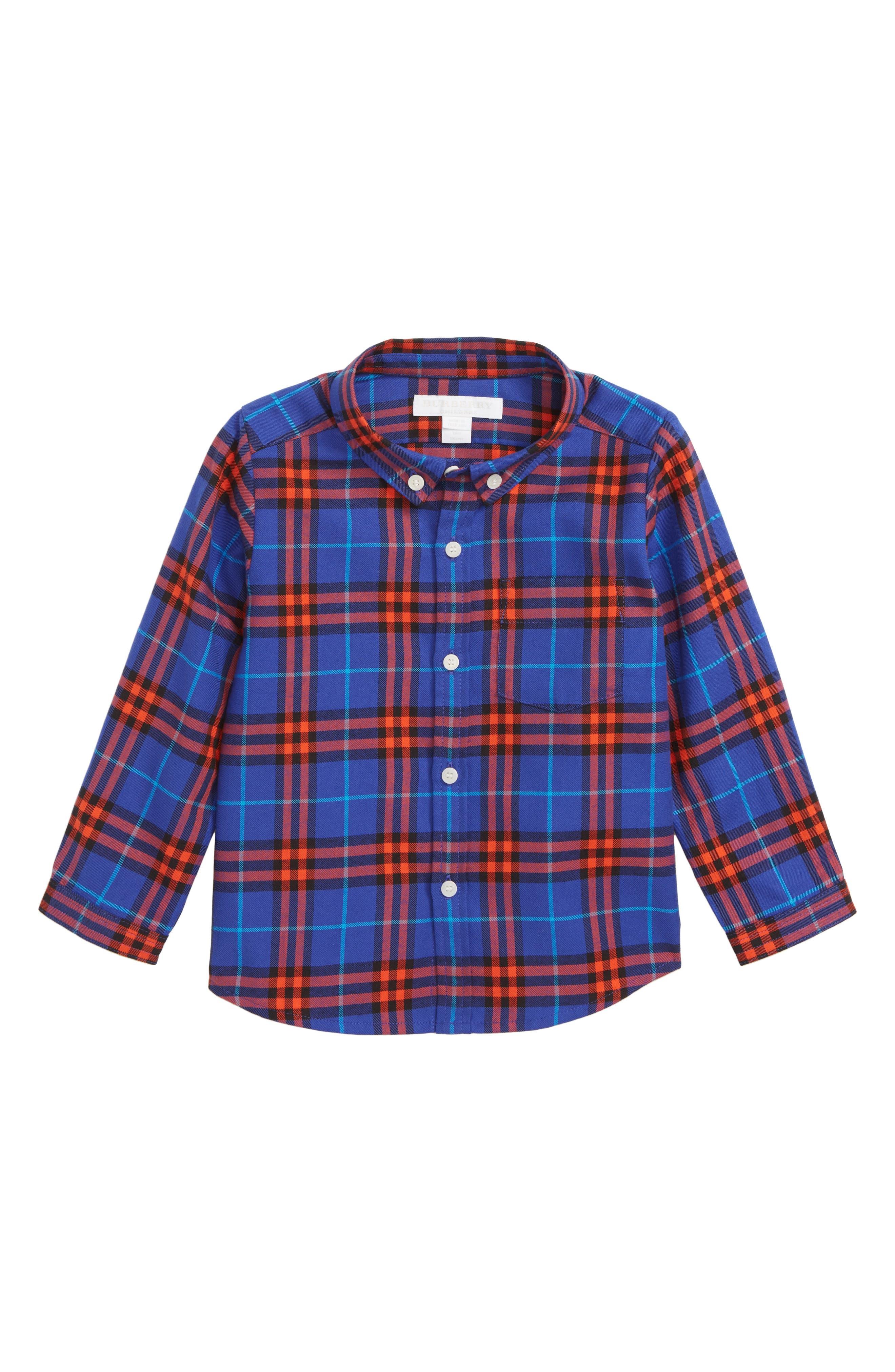 BURBERRY, Fred Plaid Woven Shirt, Main thumbnail 1, color, SAPPHIRE BLUE IP CHK