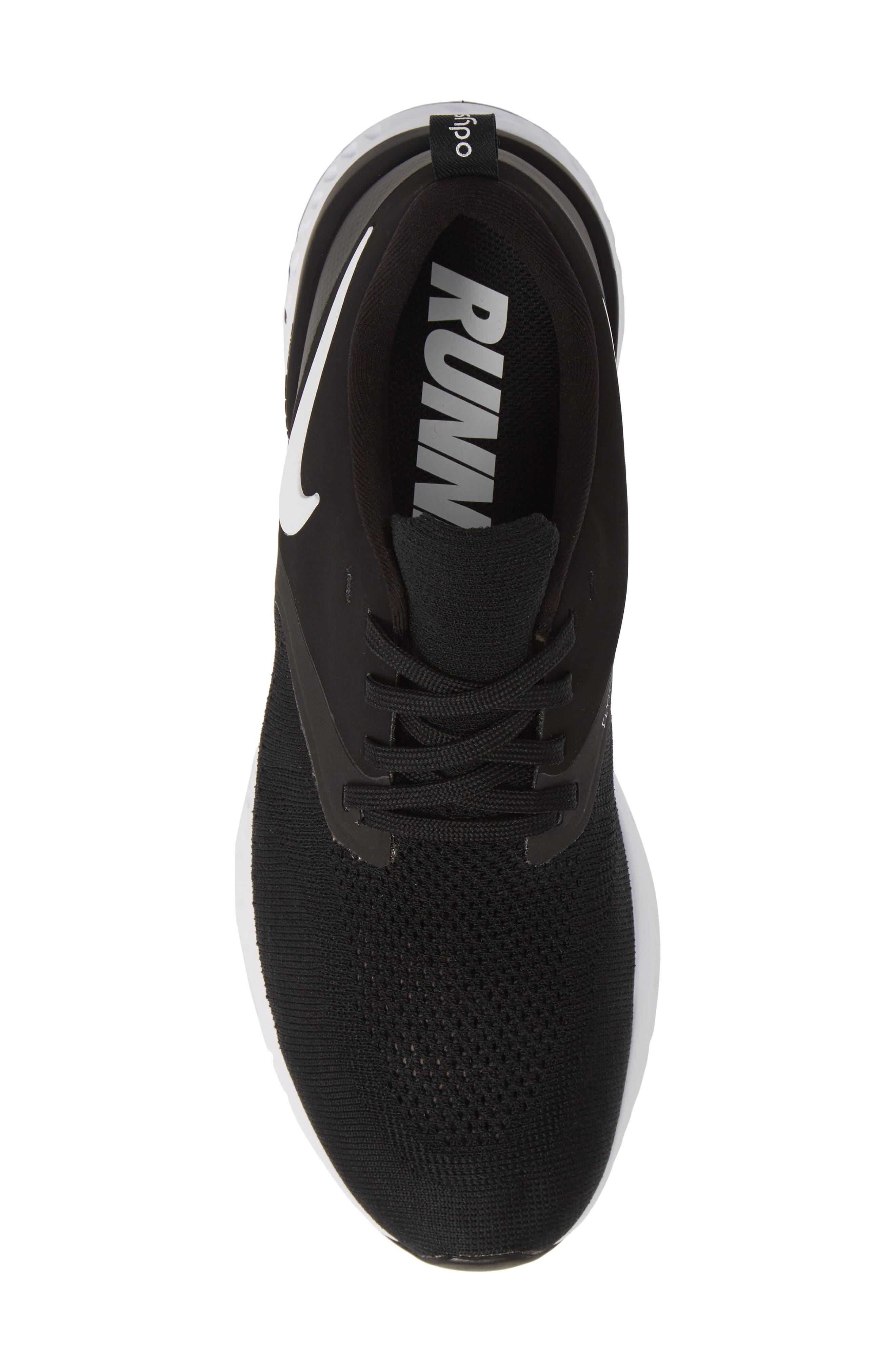 NIKE, Odyssey React 2 Flyknit Running Shoe, Alternate thumbnail 5, color, BLACK/ WHITE