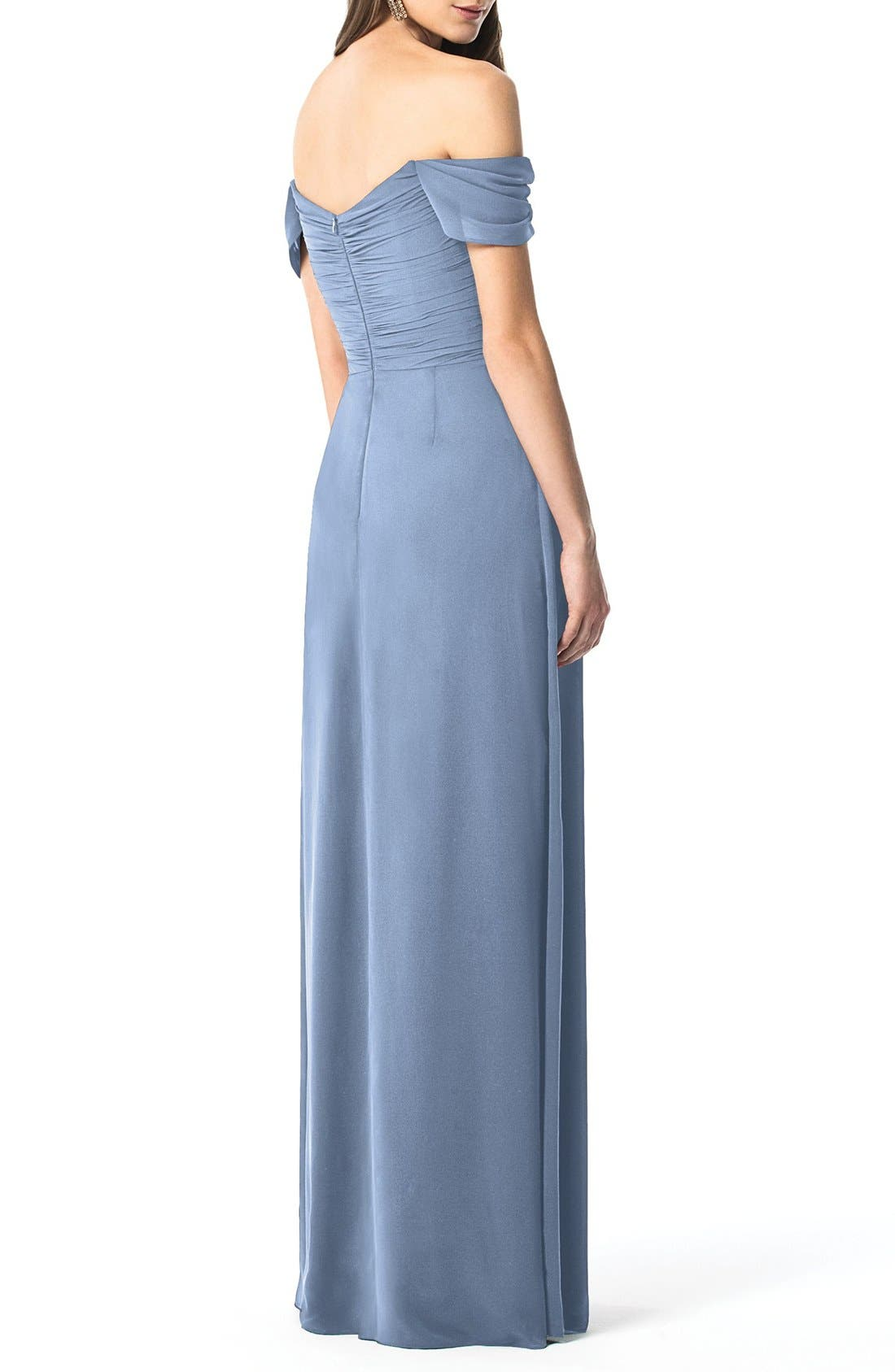 DESSY COLLECTION, Ruched Chiffon Gown, Alternate thumbnail 2, color, CLOUDY