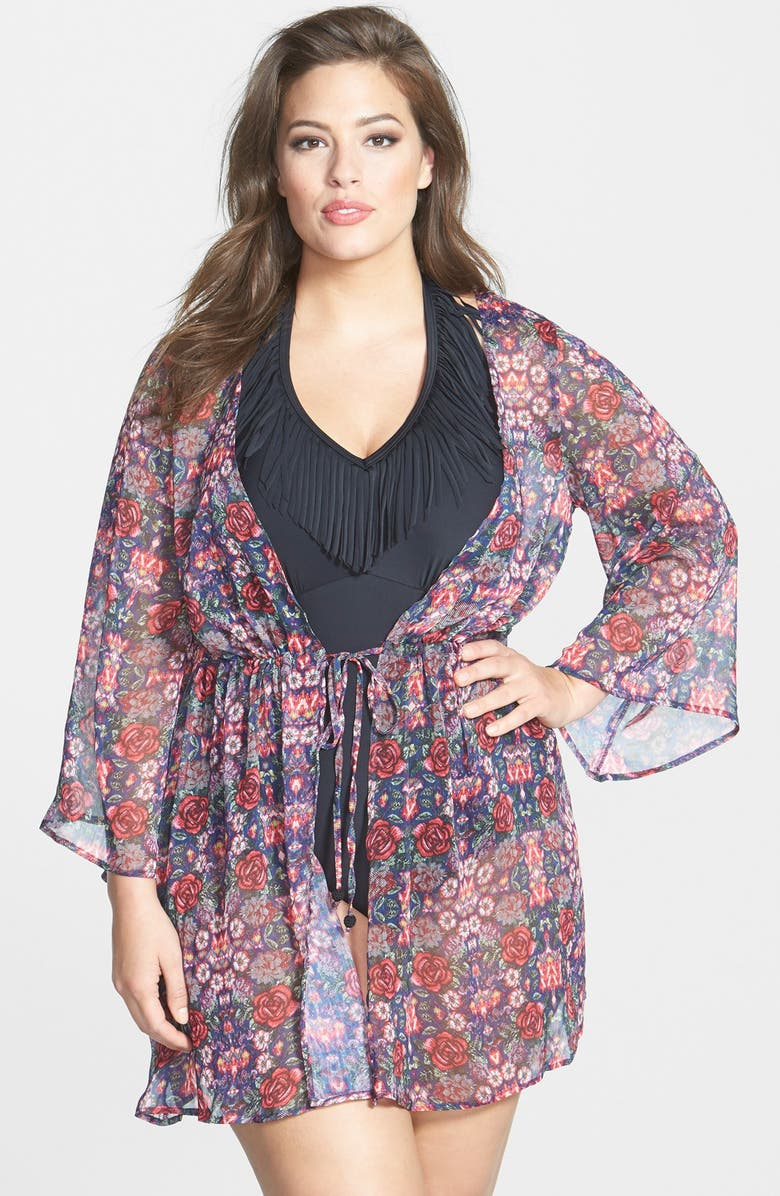 25e4f93f3d JESSICA SIMPSON 'Folkloric' Floral Print Cover-Up, Main, color, ...