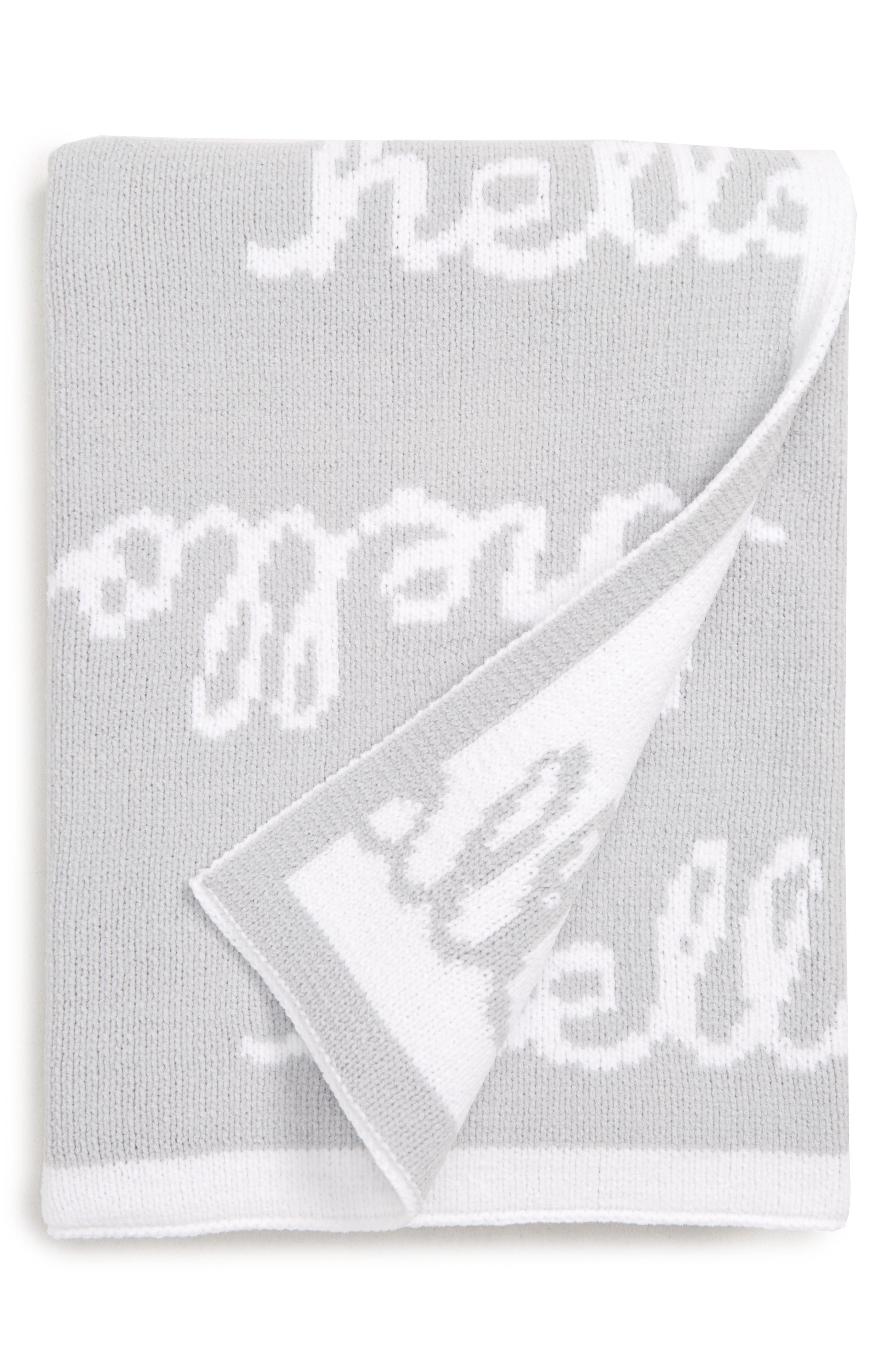 NORDSTROM BABY, Chenille Blanket, Main thumbnail 1, color, GREY MICRO HELLO BABY