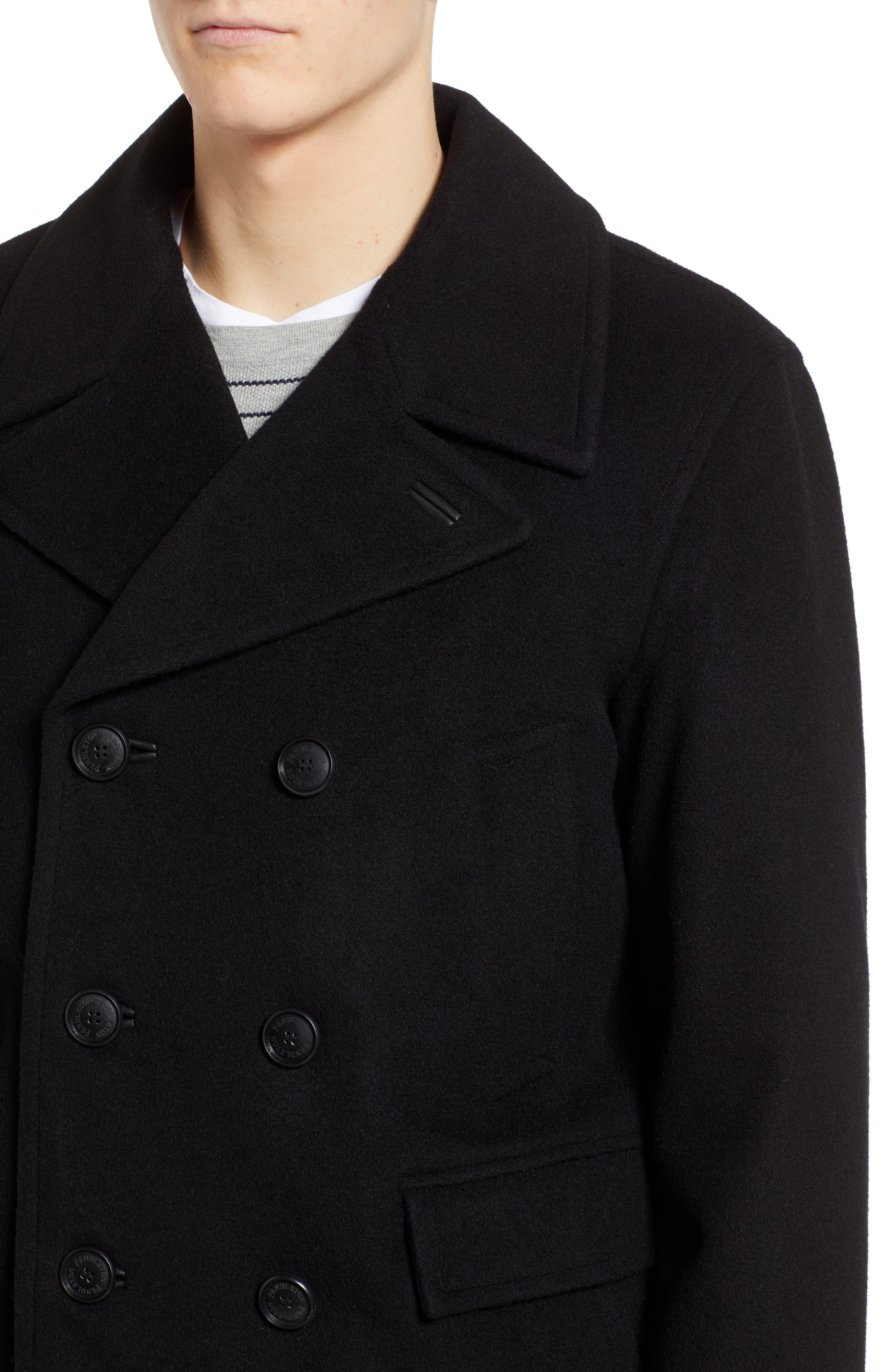 PENDLETON, Maritime Wool Blend Peacoat, Alternate thumbnail 5, color, BLACK