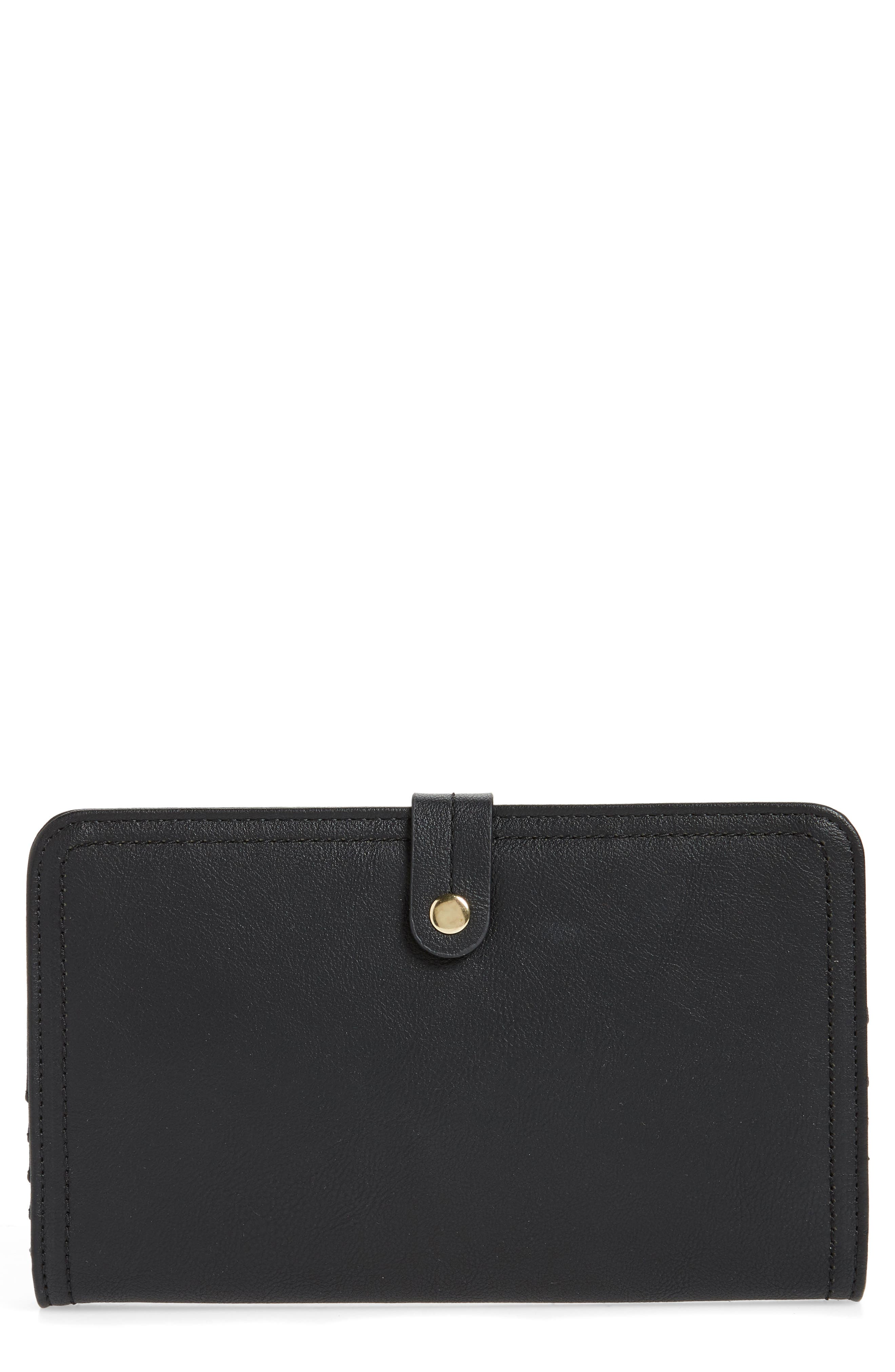 SOLE SOCIETY Travel Faux Leather Wallet, Main, color, BLACK