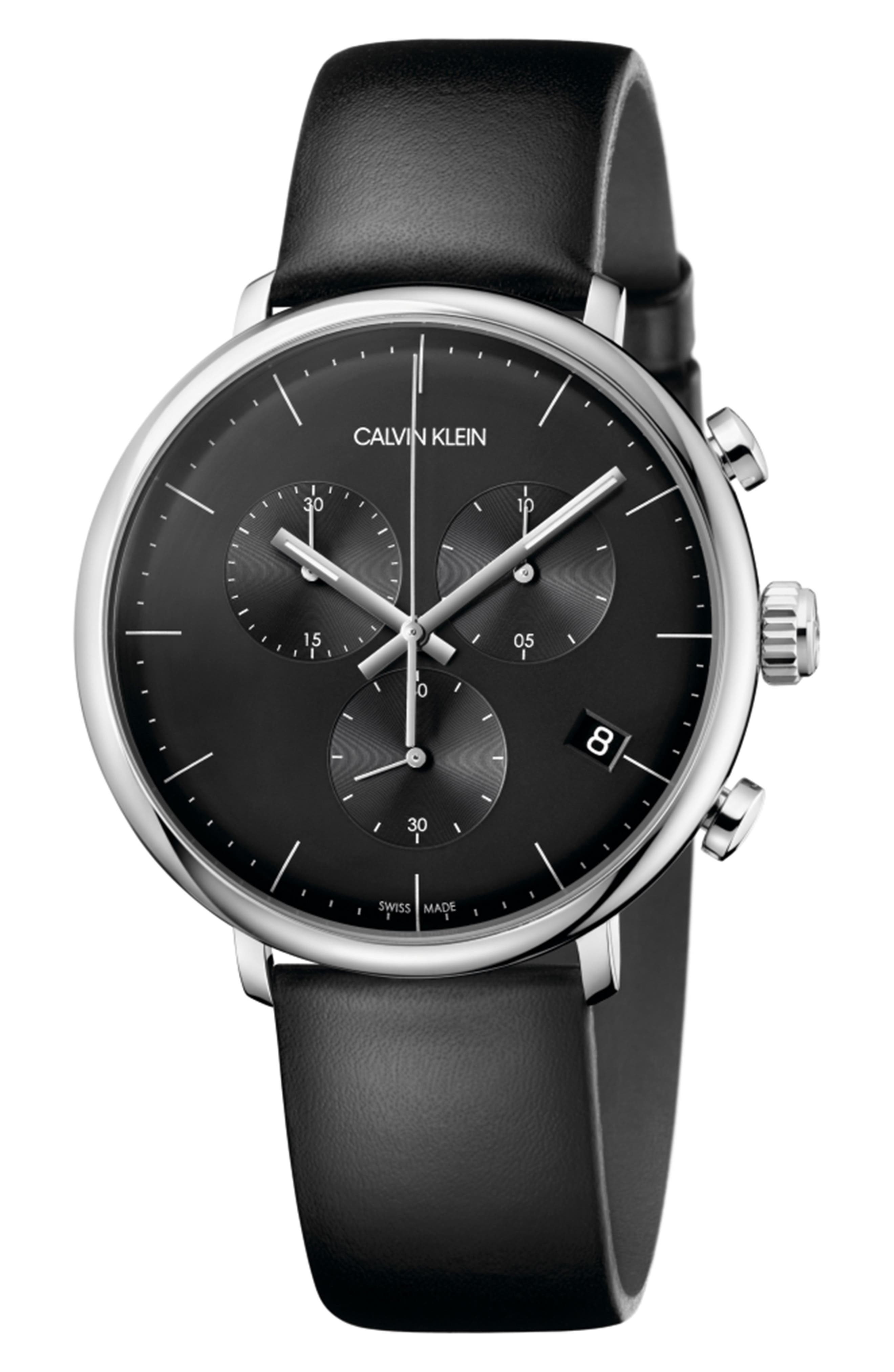CALVIN KLEIN High Noon Chronograph Leather Strap Watch, 43mm, Main, color, BLACK/ SILVER/ BLACK