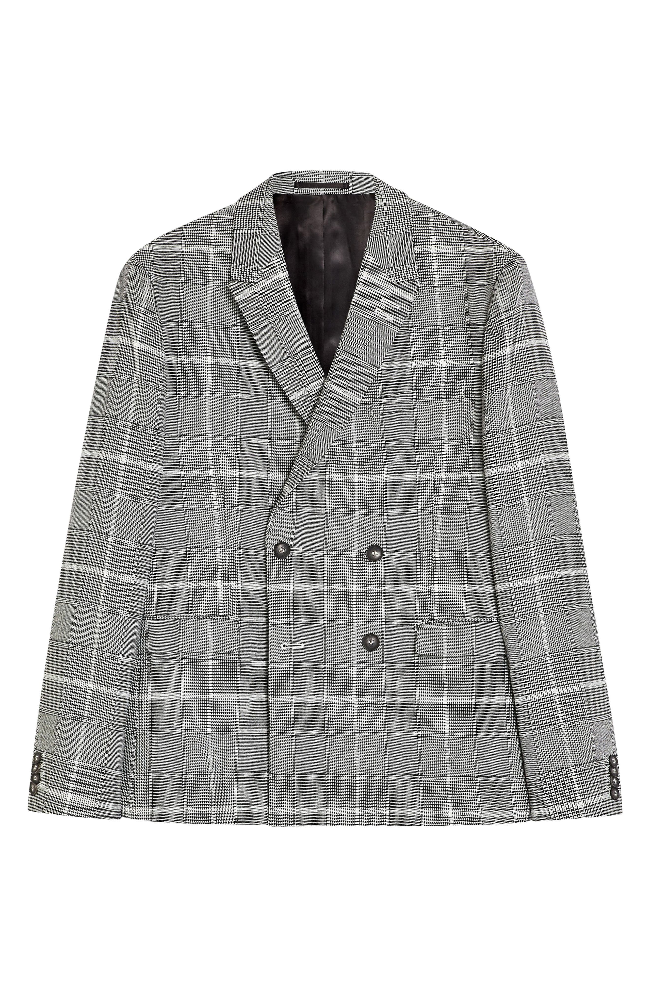 TOPMAN, Skinny Fit Check Suit Jacket, Alternate thumbnail 4, color, 020