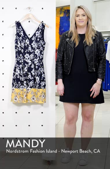 Floral Print Pleated Fit & Flare Dress, sales video thumbnail