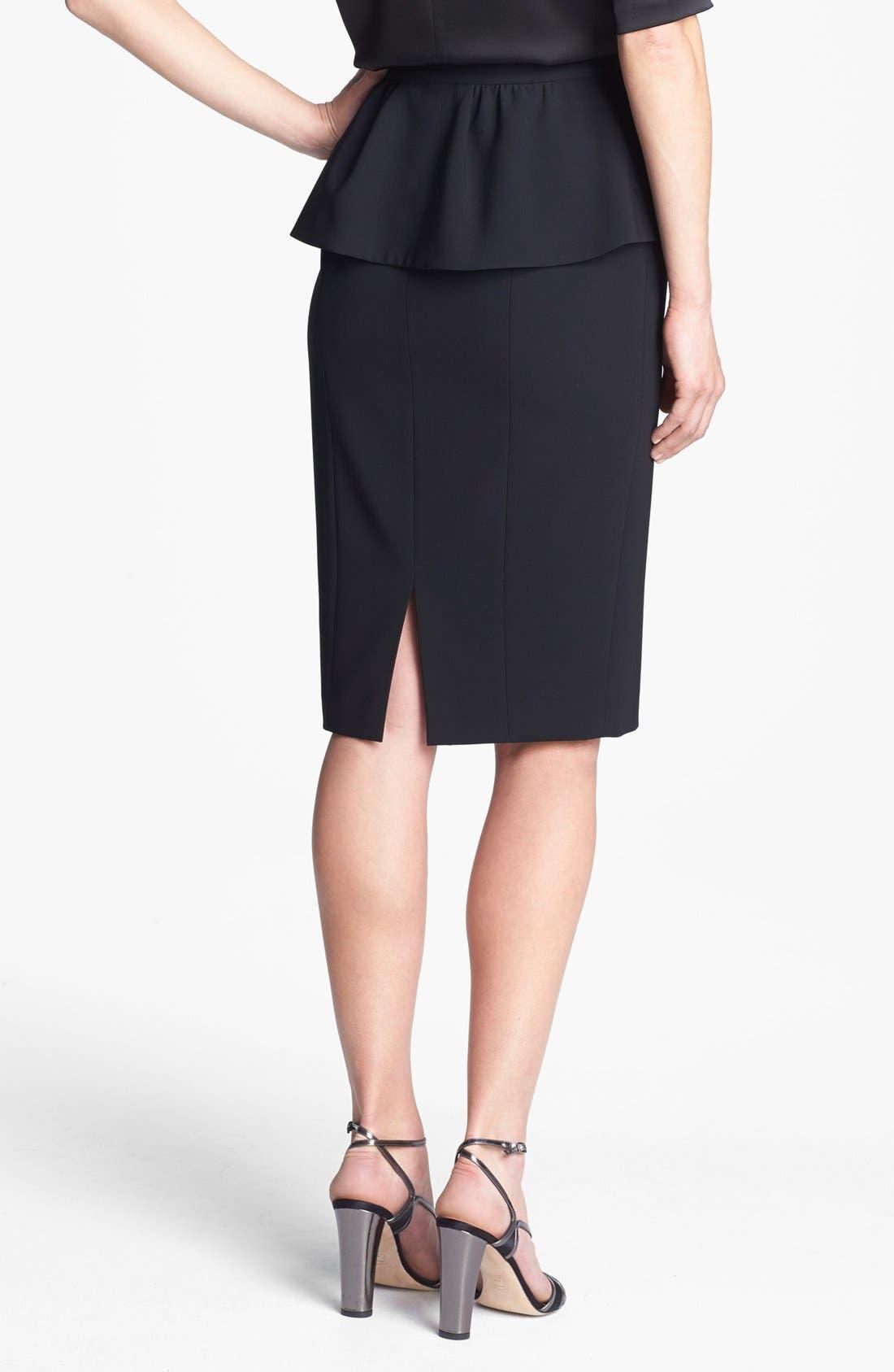 ST. JOHN COLLECTION, Draped Peplum Crepe Marocain Skirt, Alternate thumbnail 2, color, 001