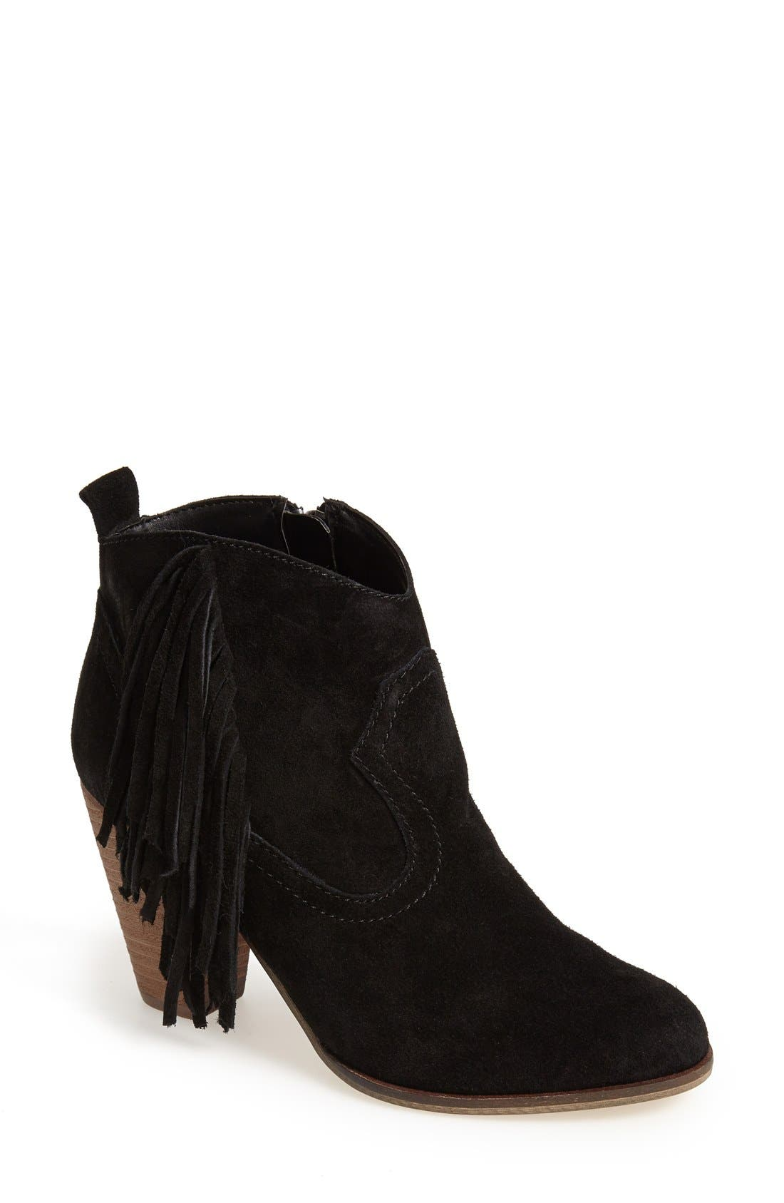 STEVE MADDEN, 'Ponncho' Suede Bootie, Main thumbnail 1, color, 006