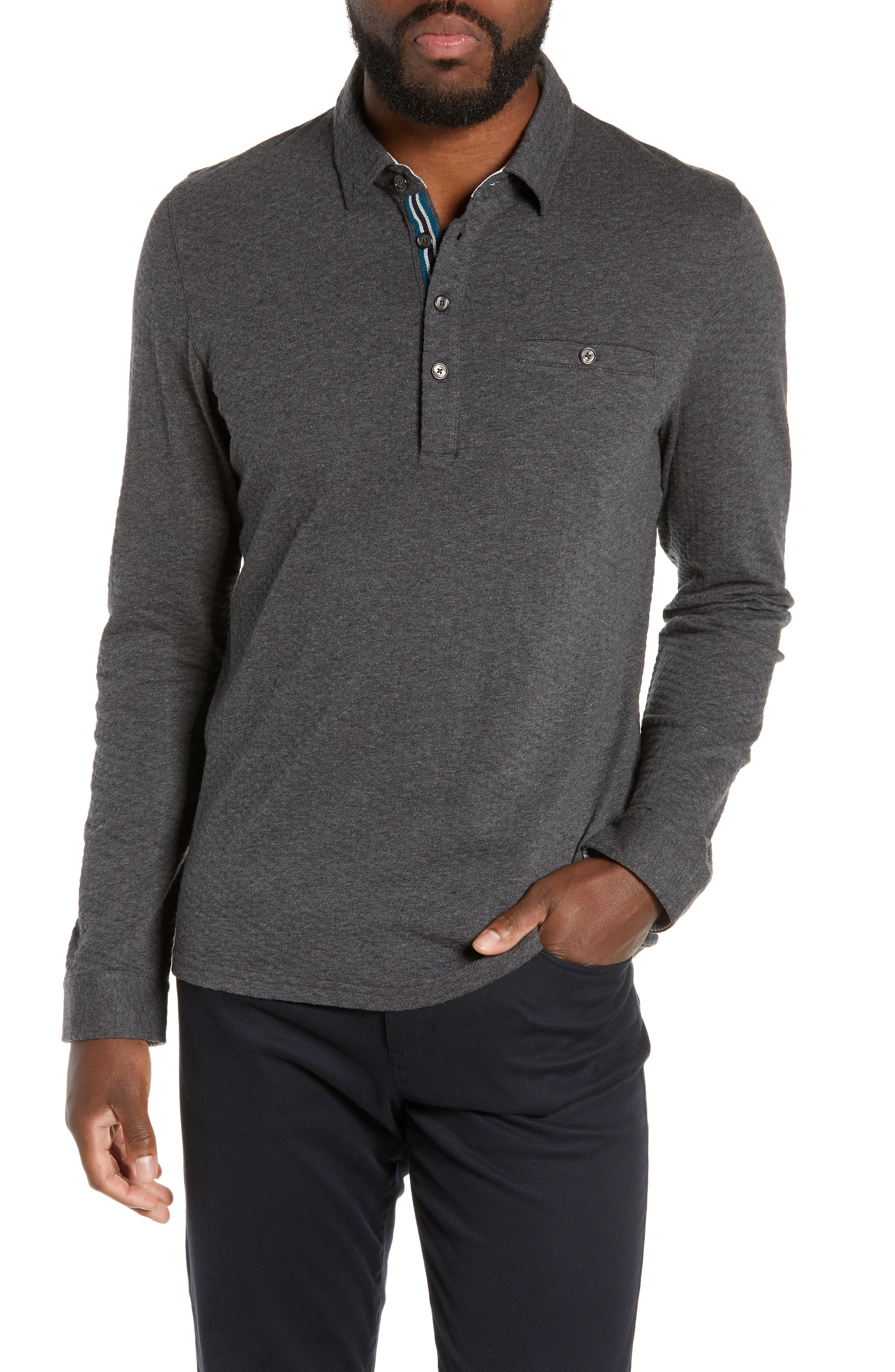 TED BAKER LONDON Fruitpa Slim Fit Long Sleeve Polo, Main, color, CHARCOAL