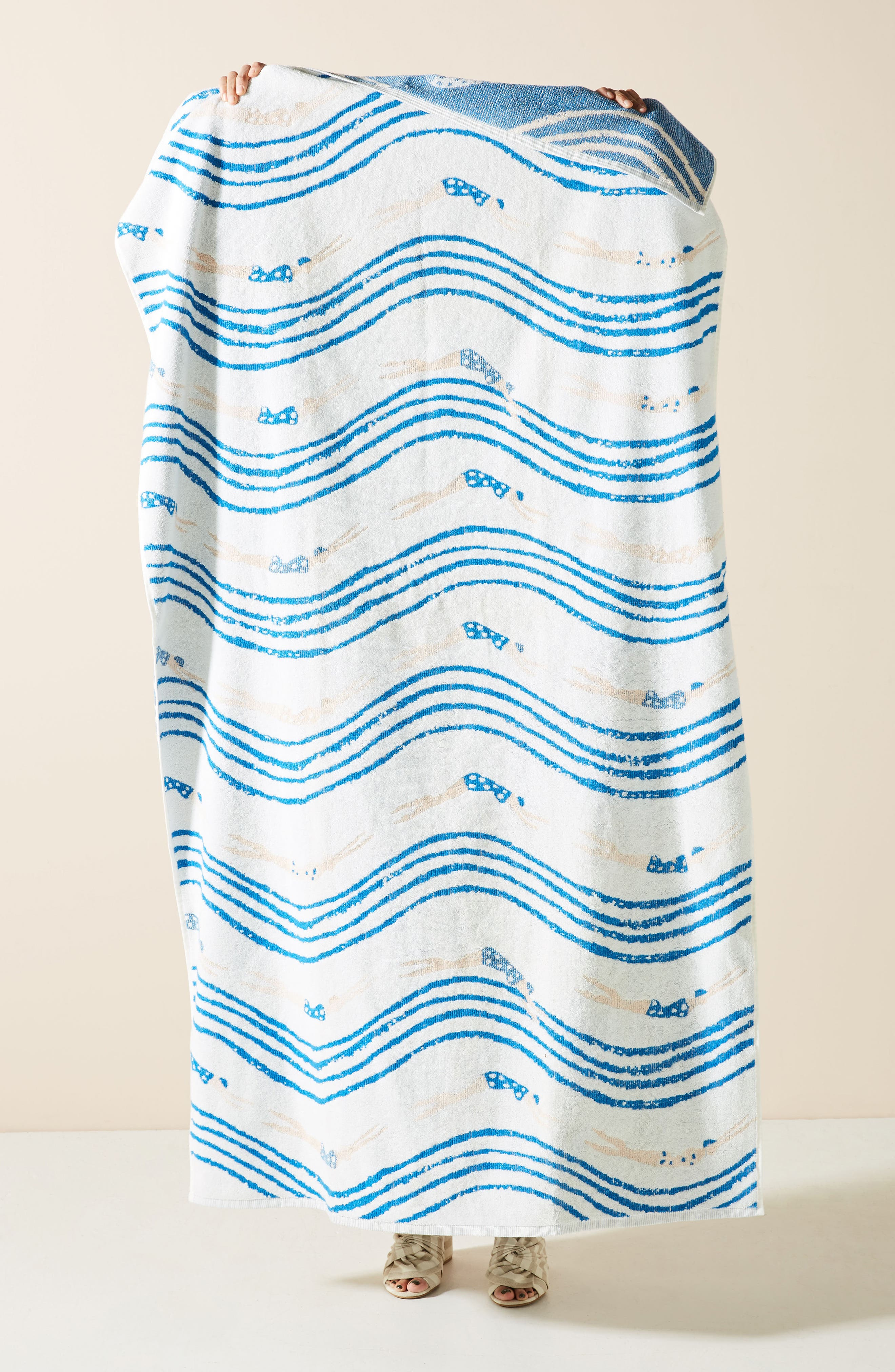 ANTHROPOLOGIE Emily Isabella Beach Towel, Main, color, BLUE