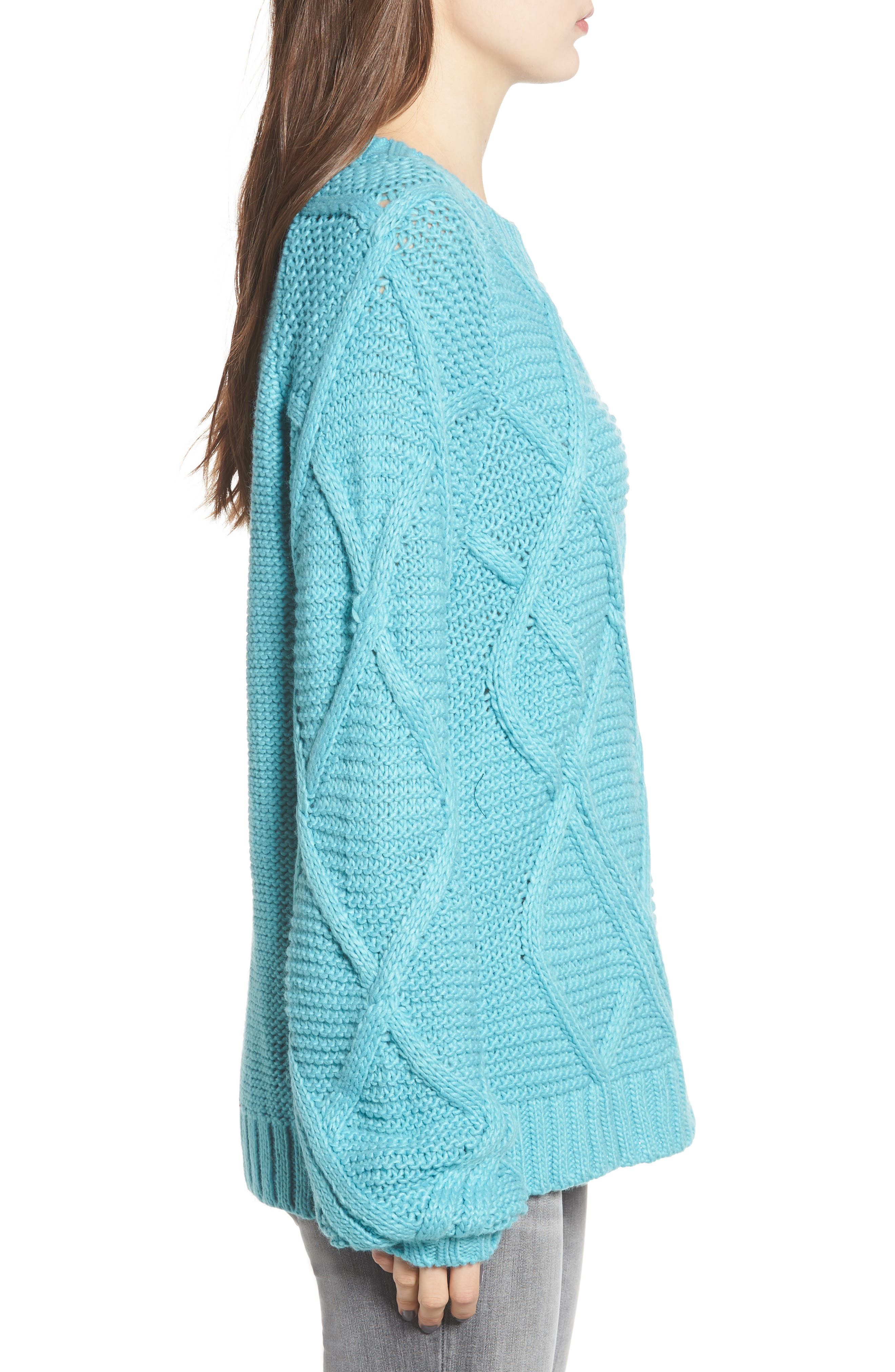 PROSPERITY DENIM, Cable Knit Sweater, Alternate thumbnail 3, color, 400