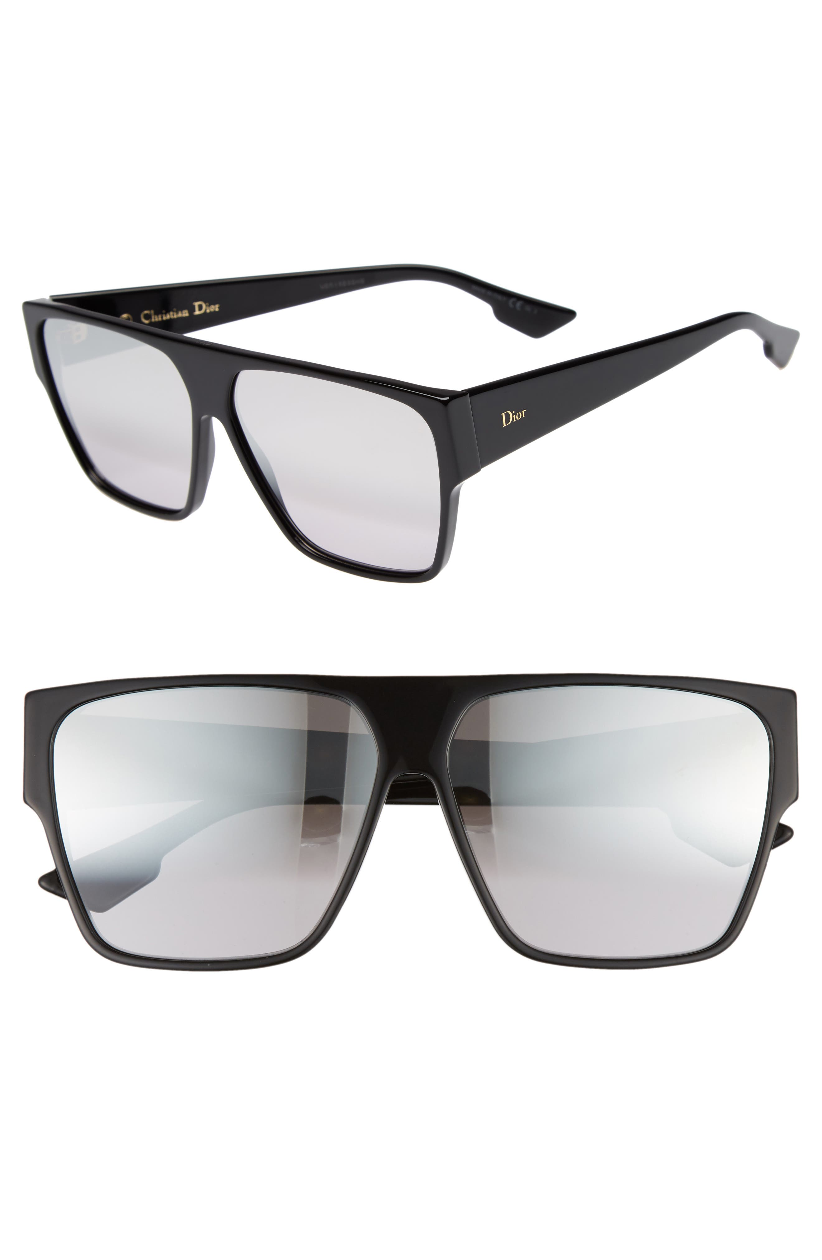 DIOR, 62mm Flat Top Square Sunglasses, Main thumbnail 1, color, BLACK