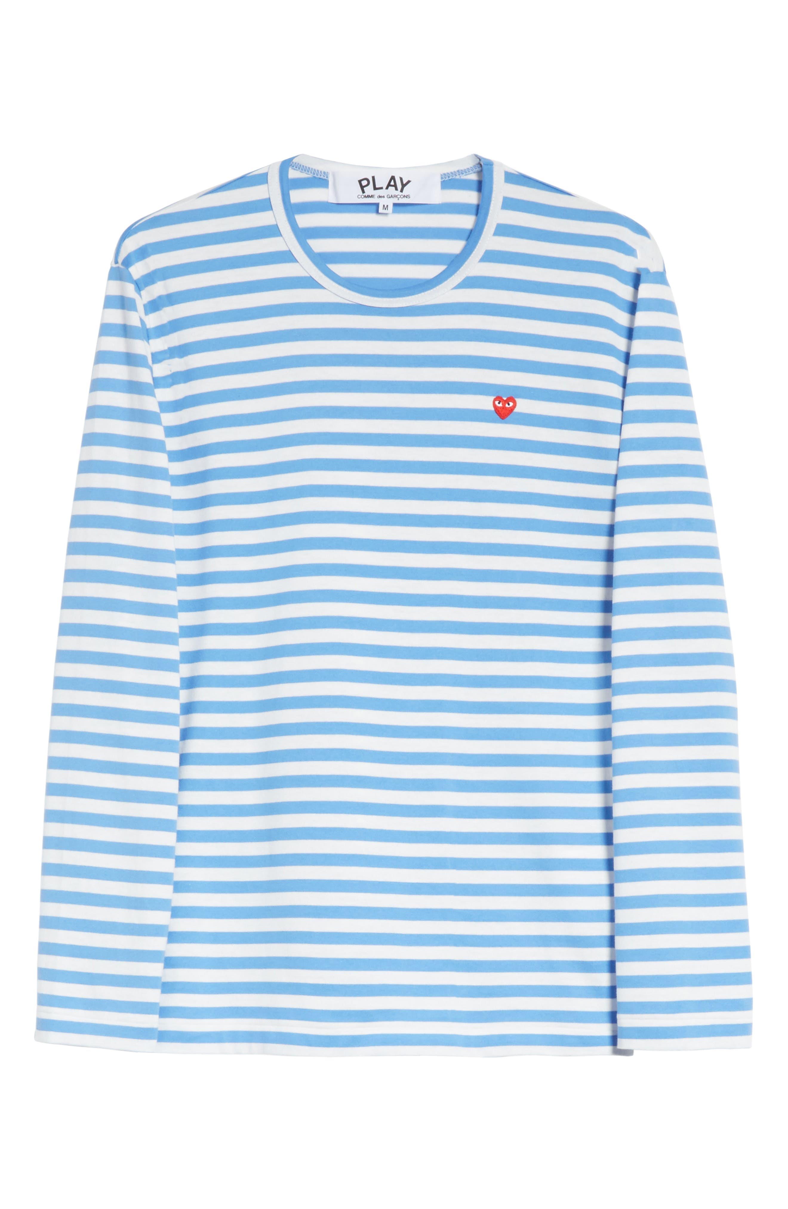 COMME DES GARÇONS PLAY, Long Sleeve Stripe Crewneck T-Shirt, Alternate thumbnail 6, color, 400
