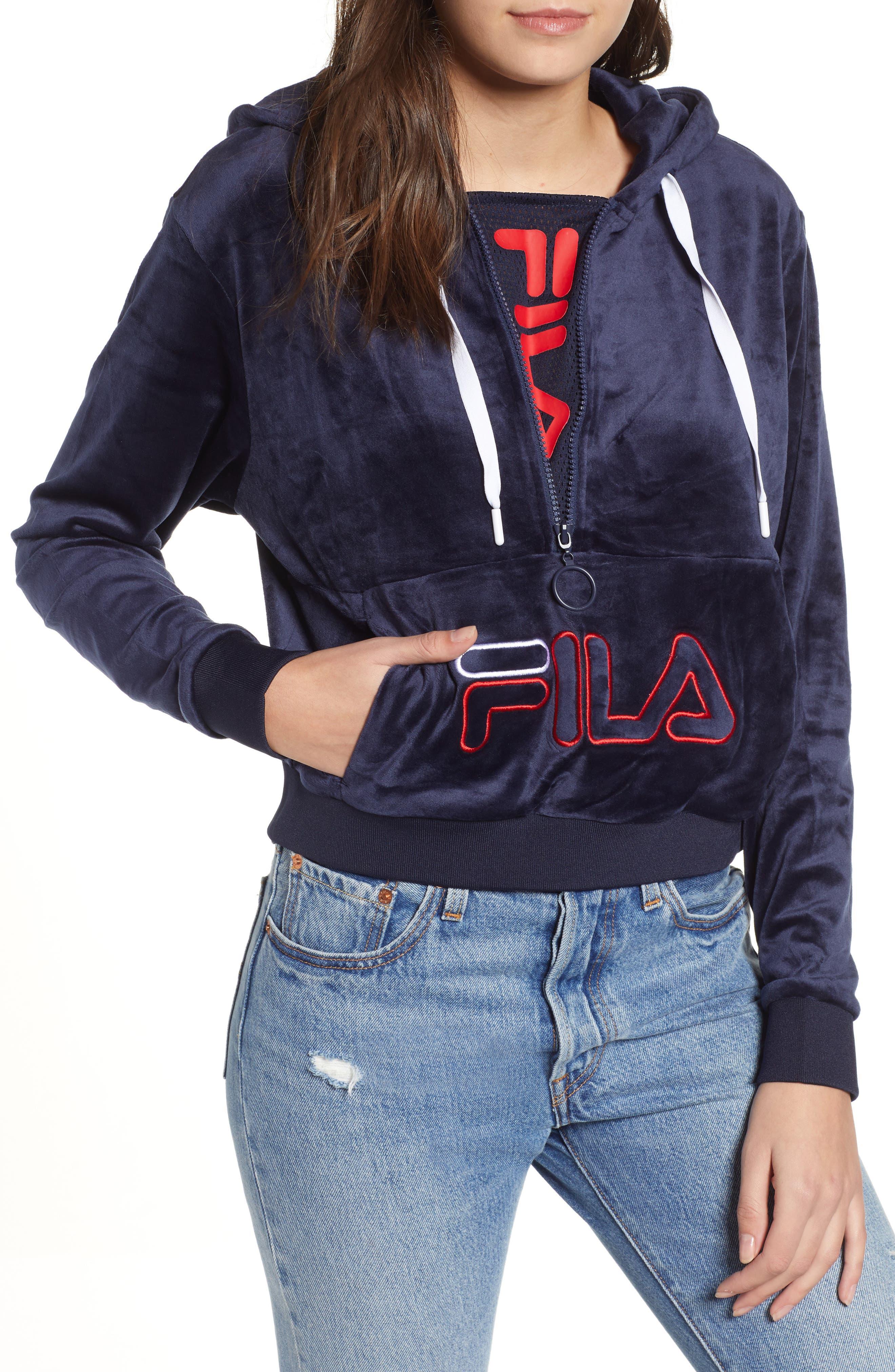 FILA, Rosella Velour Half Zip Hoodie, Main thumbnail 1, color, 411