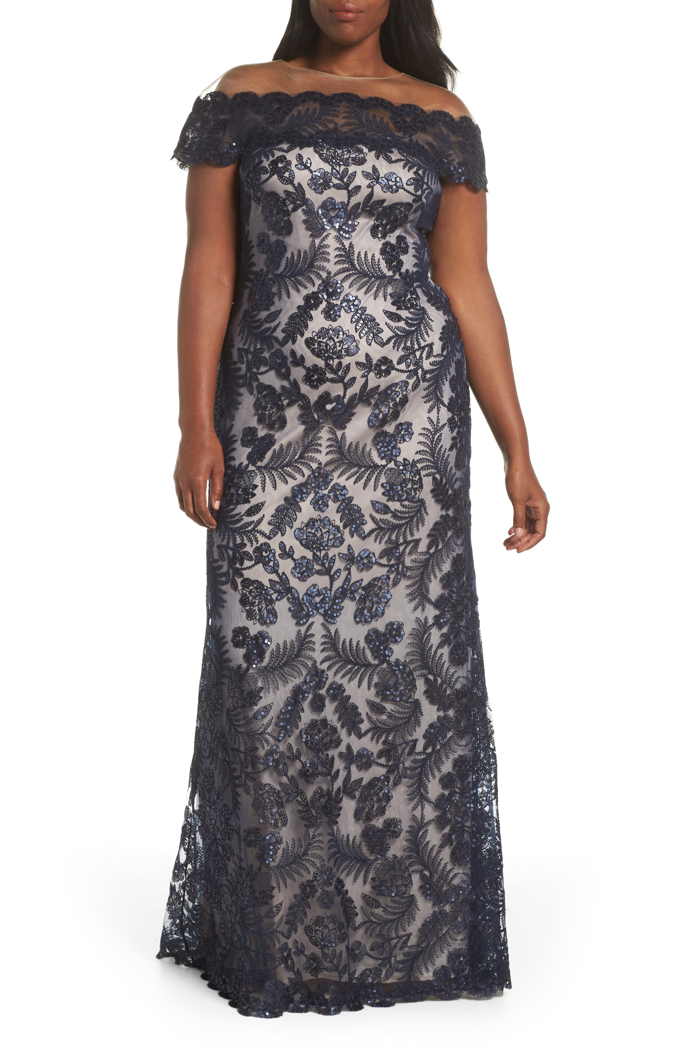 TADASHI SHOJI, Illusion Neck Sequin Lace Gown, Alternate thumbnail 2, color, 410