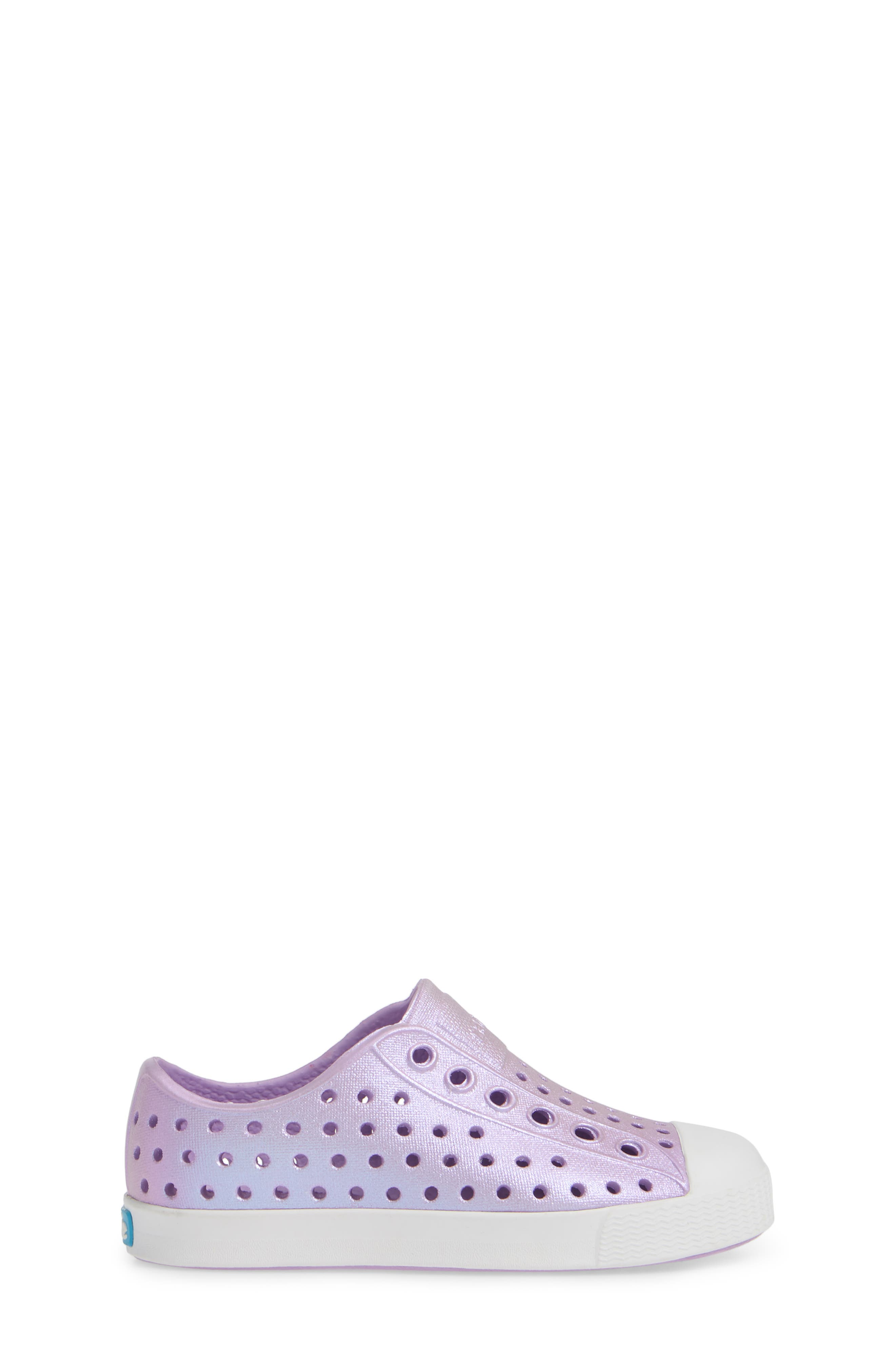 NATIVE SHOES, Jefferson Iridescent Slip-On Vegan Sneaker, Alternate thumbnail 3, color, LAVENDER/ SHELL WHITE/ GALAXY