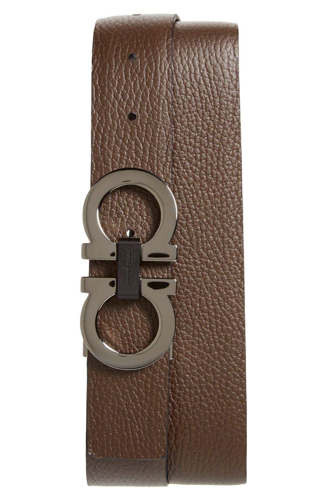 SALVATORE FERRAGAMO, Reversible Double Gancio Belt, Alternate thumbnail 3, color, BLACK/ HICKORY