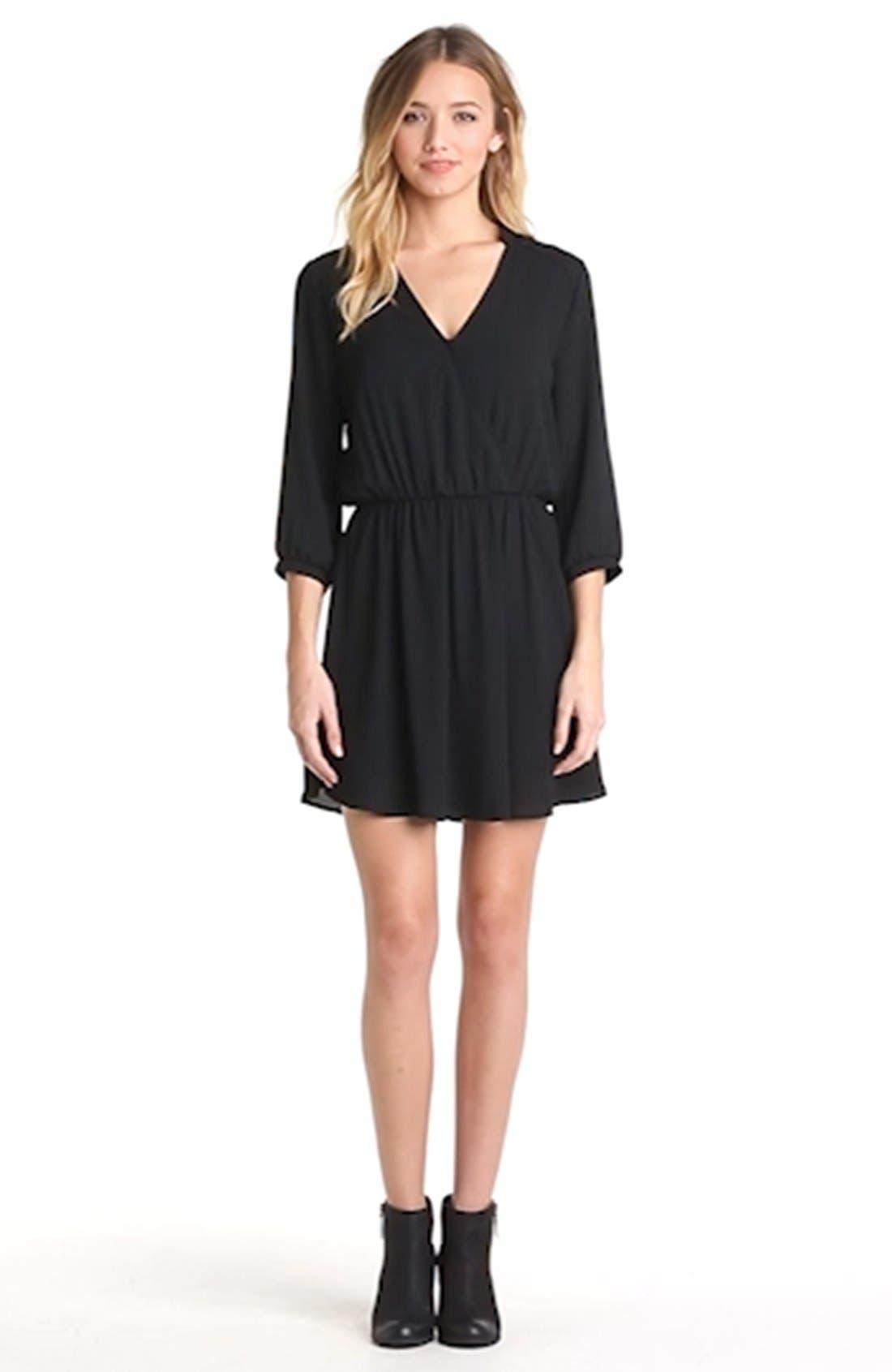 ---, Kendal' Surplice Faux Wrap Dress, Alternate thumbnail 5, color, 001