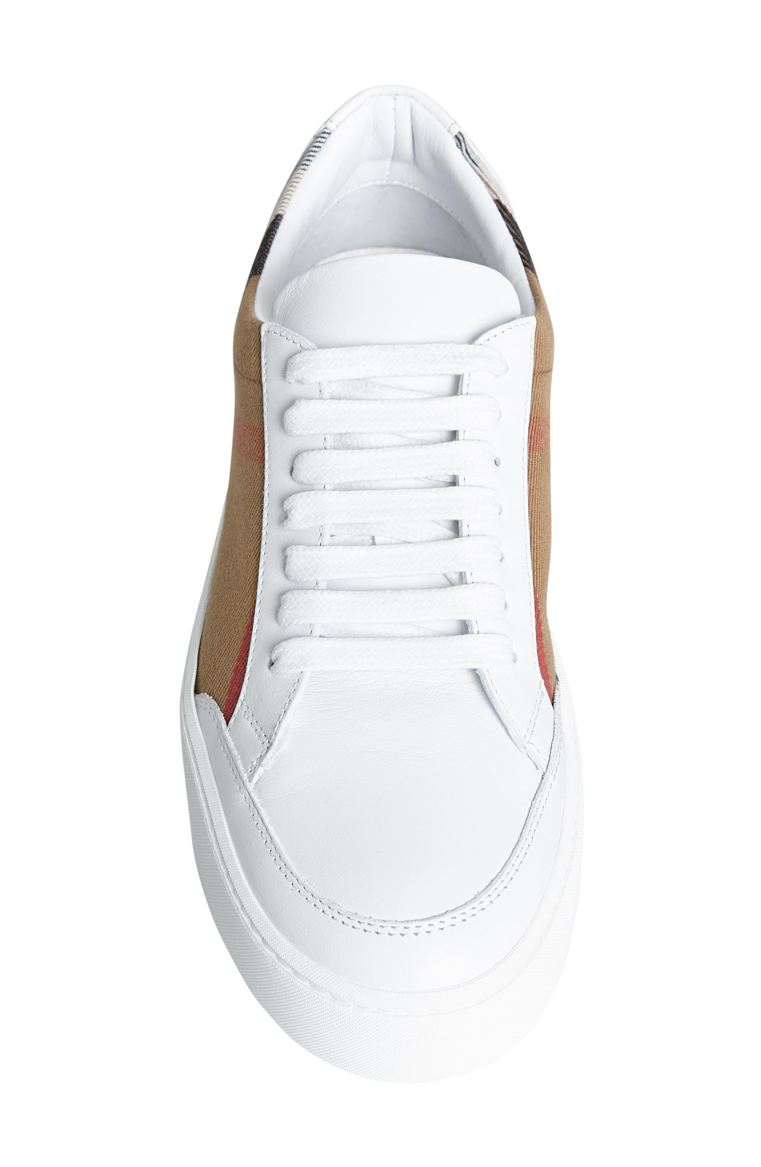 BURBERRY, Salmond Sneaker, Alternate thumbnail 5, color, WHITE