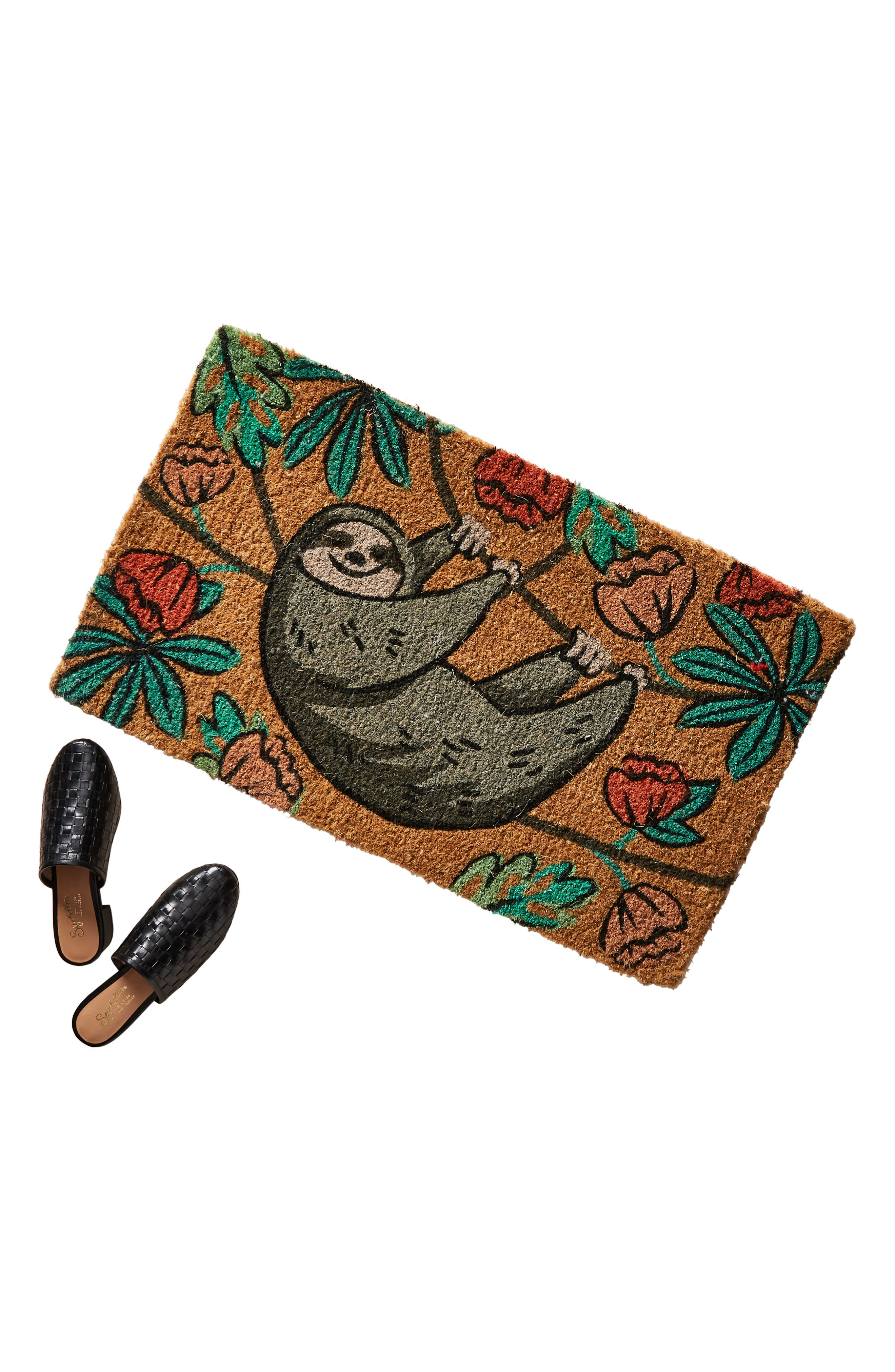 ANTHROPOLOGIE, Hanging Sloth Door Mat, Alternate thumbnail 3, color, RED COMBO