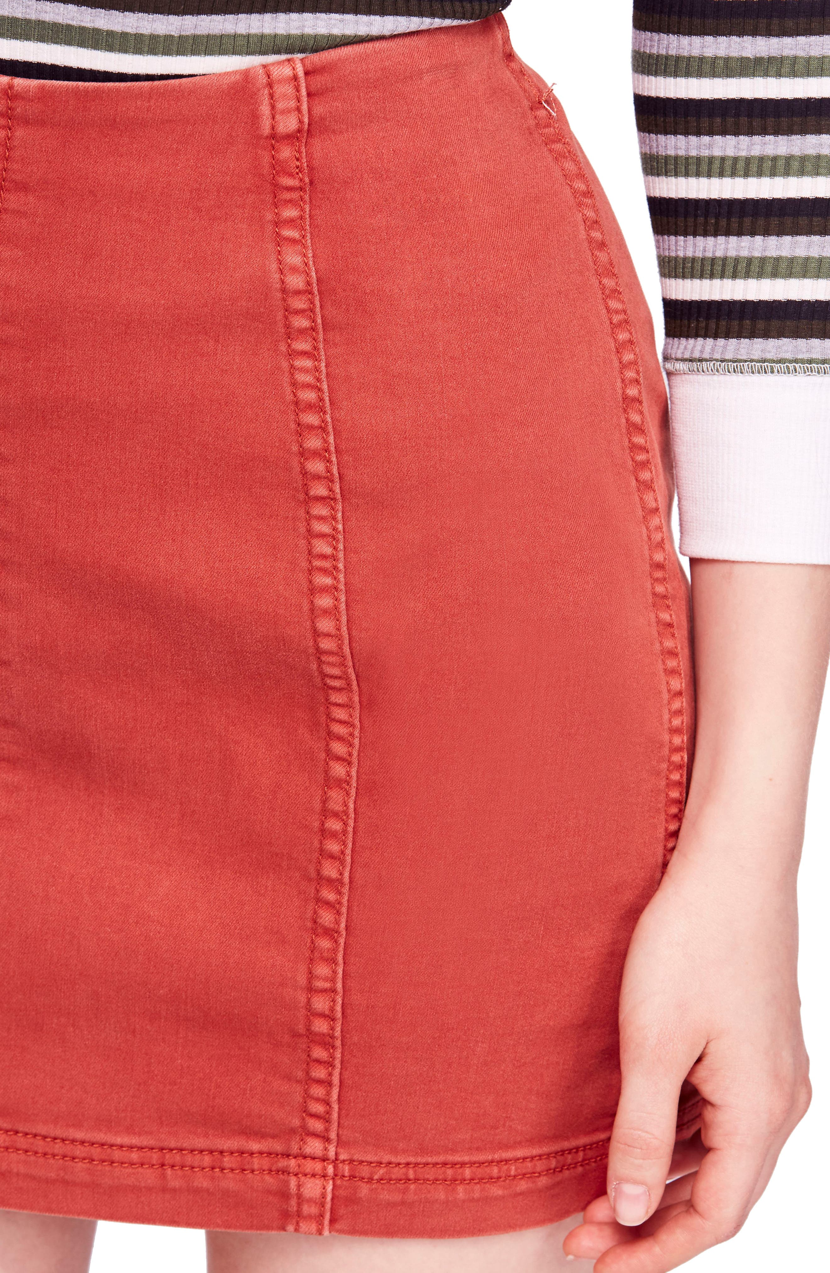 FREE PEOPLE, We the Free by Free People Modern Denim Skirt, Alternate thumbnail 5, color, TERRACOTTA