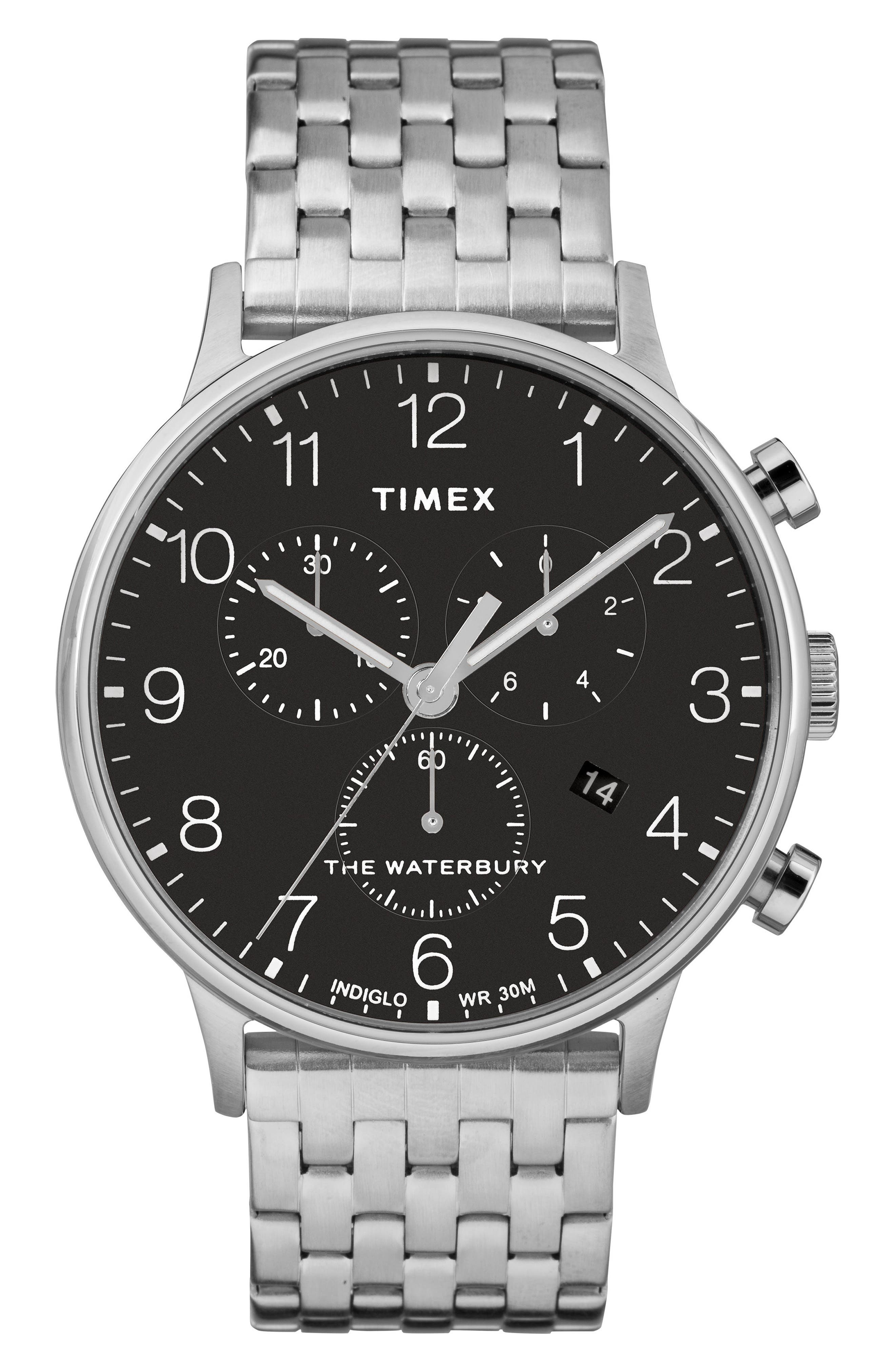 TIMEX<SUP>®</SUP> Waterbury Chronograph Bracelet Watch, 40mm, Main, color, SILVER/ BLACK/ SILVER