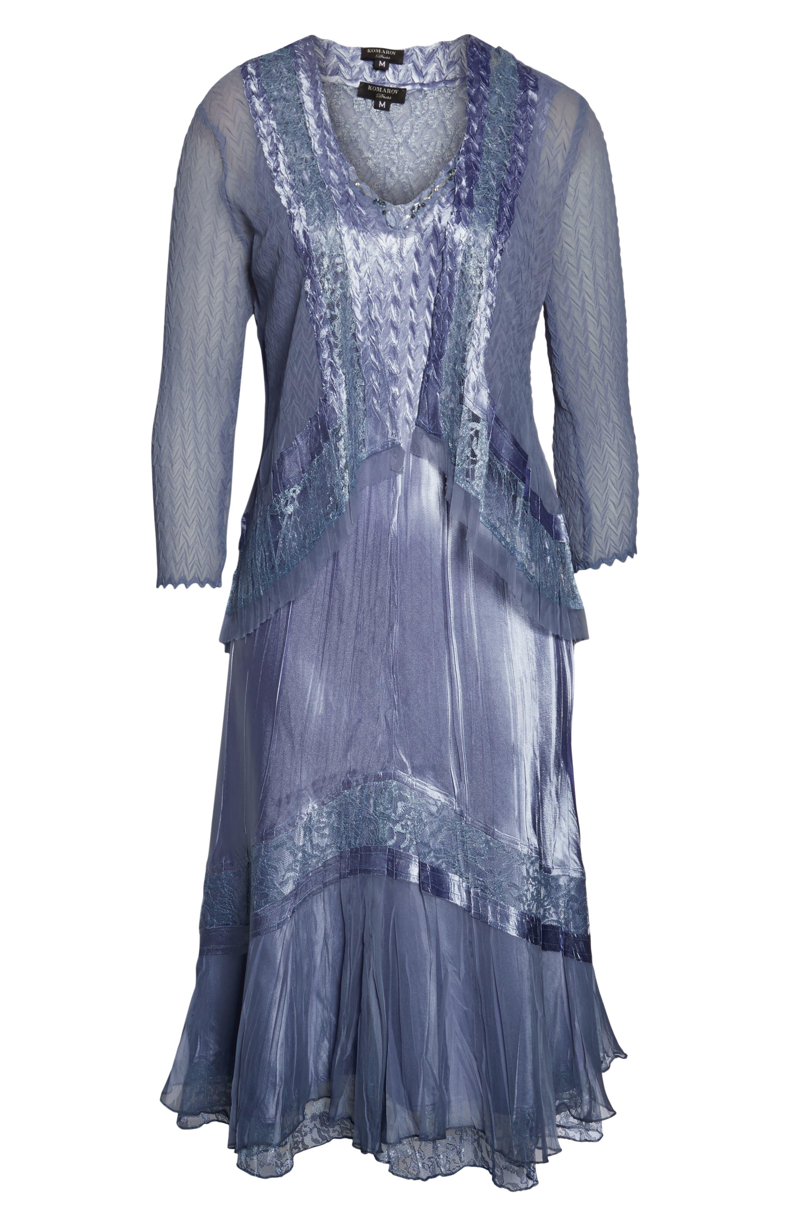 KOMAROV, Embellished Lace Trim Charmeuse Dress & Jacket, Alternate thumbnail 2, color, 500