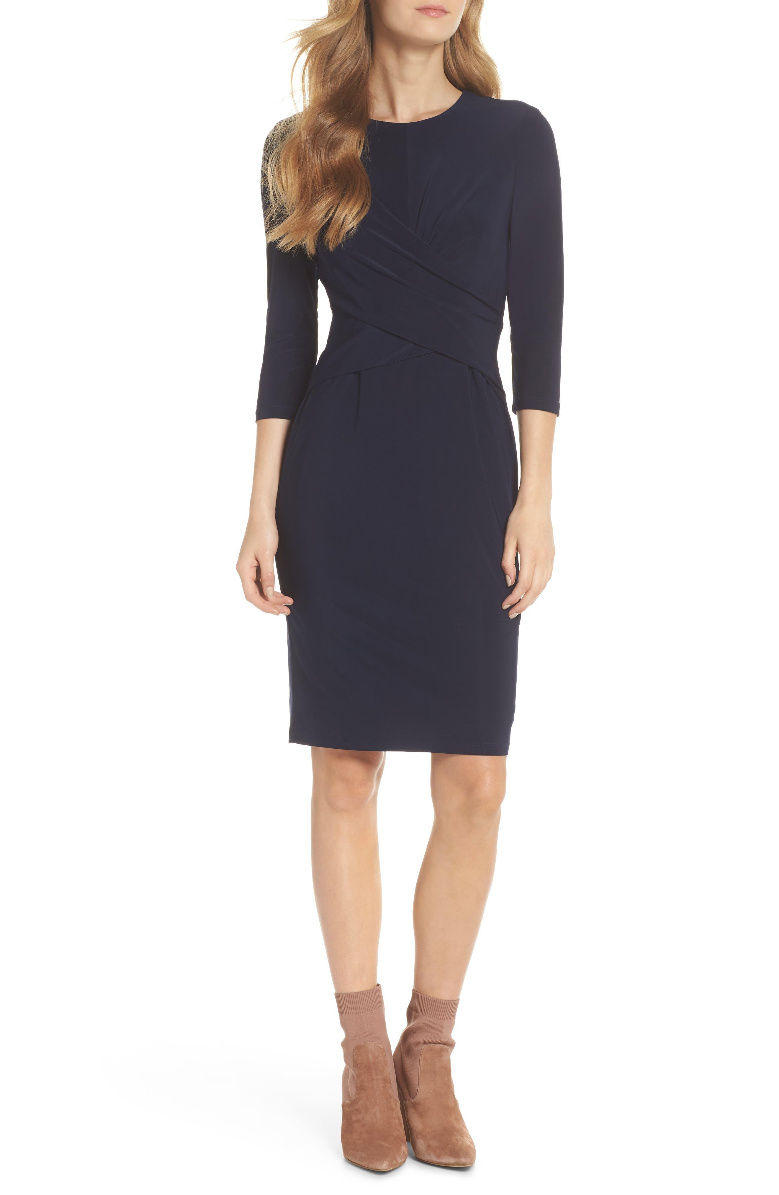 ELIZA J, Ruched Jersey Sheath Dress, Alternate thumbnail 6, color, NAVY
