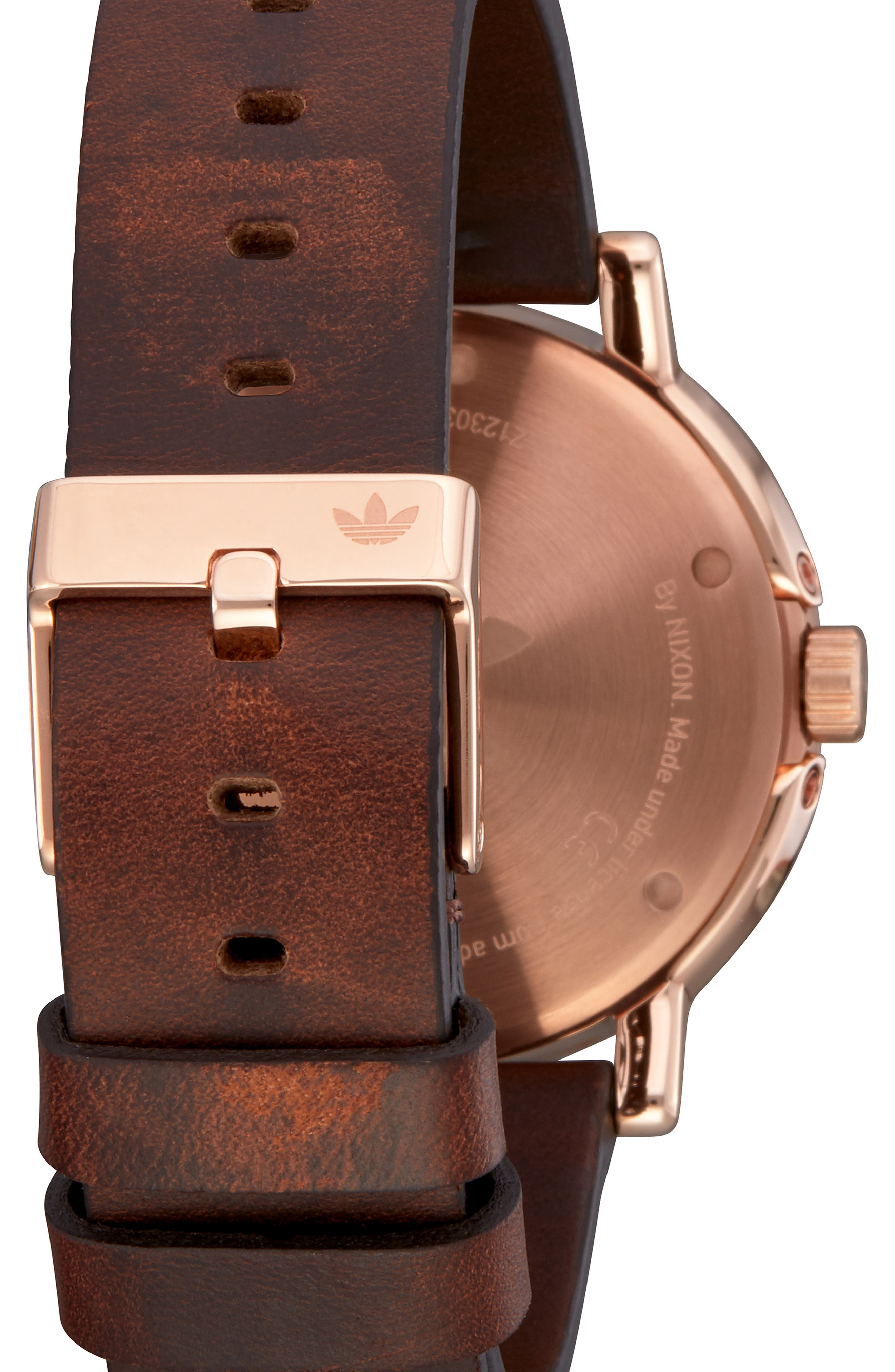 ADIDAS, District Leather Strap Watch, 40mm, Alternate thumbnail 2, color, BROWN/ OLIVE/ ROSE GOLD