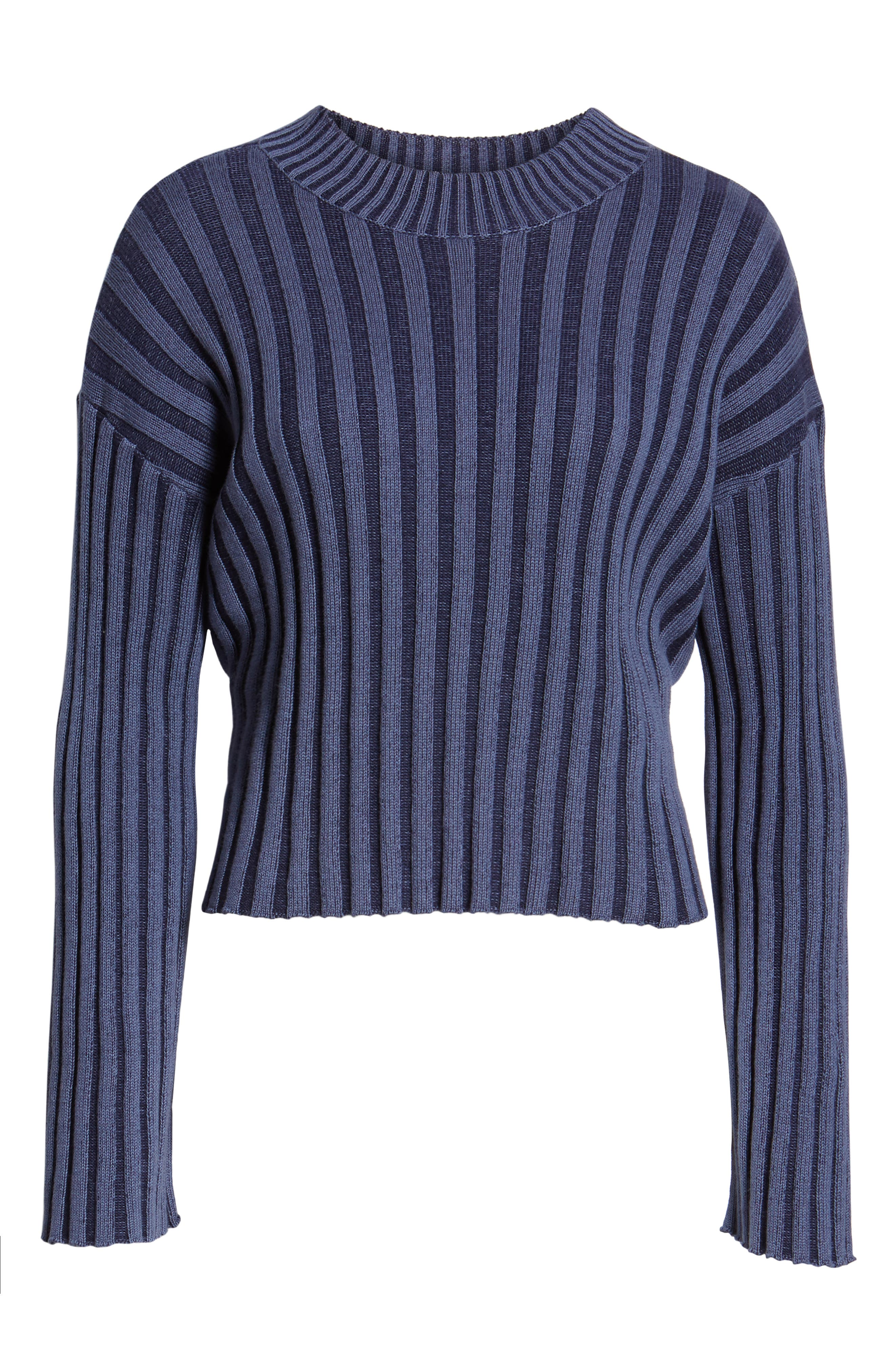 BP., Shadow Rib Crop Sweater, Alternate thumbnail 7, color, NAVY EVENING