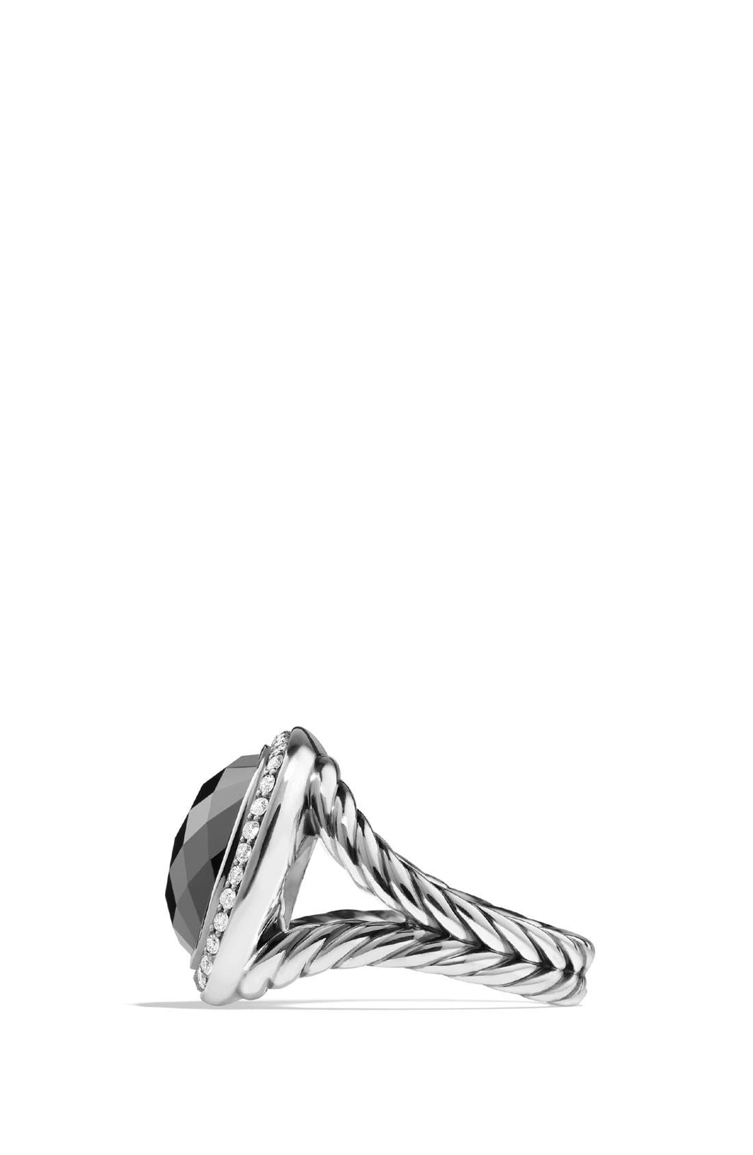 DAVID YURMAN, 'Albion' Ring with Semiprecious Stone and Diamonds, Alternate thumbnail 4, color, HEMATINE