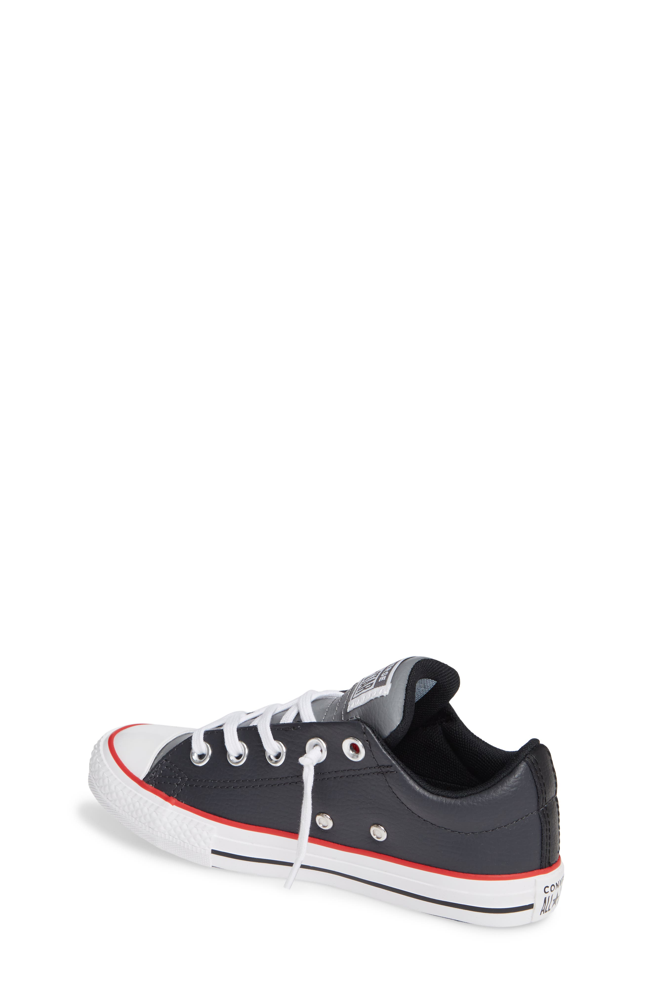 CONVERSE, Chuck Taylor<sup>®</sup> All Star<sup>®</sup> Collegiate Street Leather Slip-On Sneaker, Alternate thumbnail 2, color, ALMOST BLACK