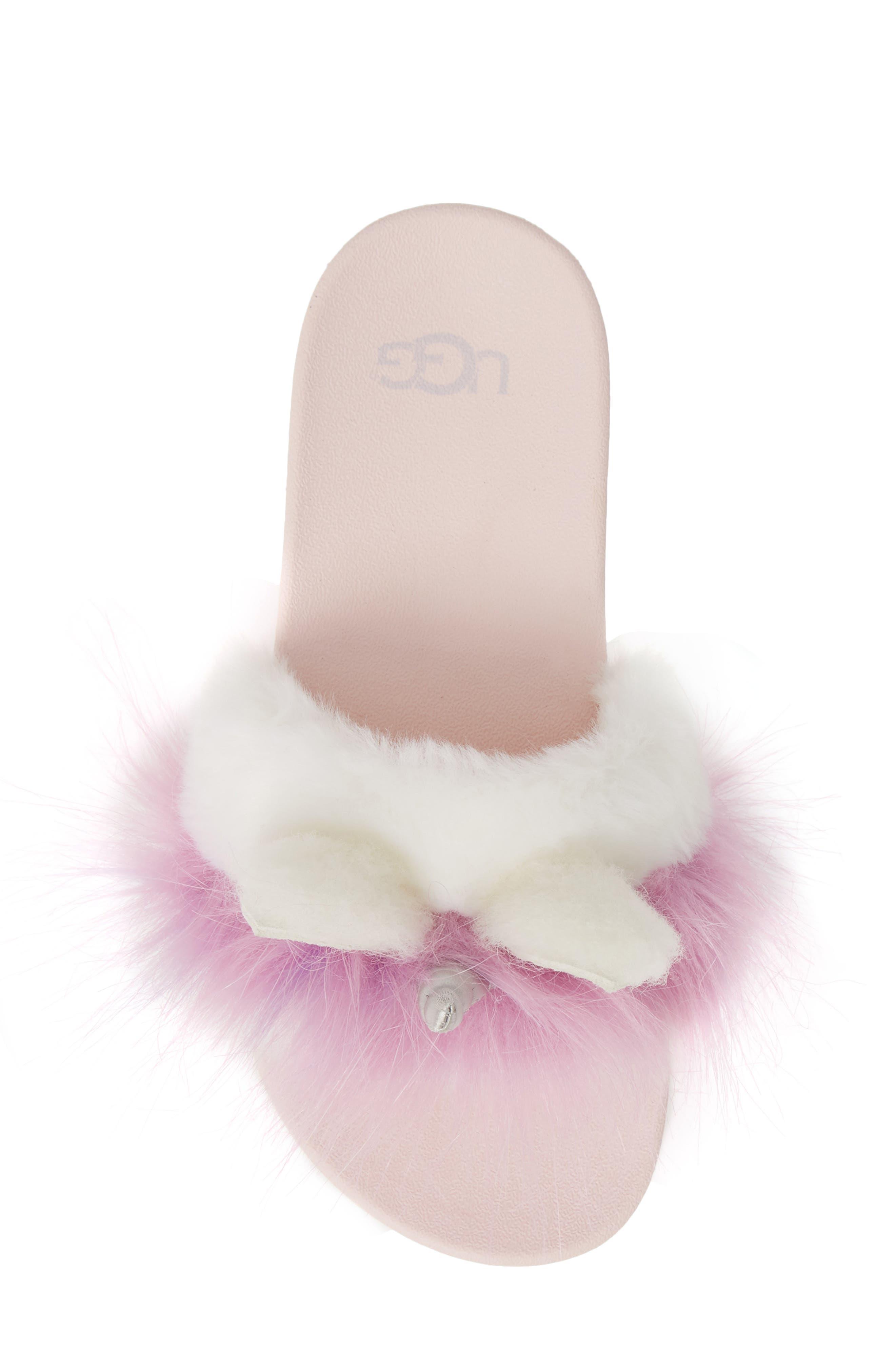 UGG<SUP>®</SUP>, Rainbow Unicorn Faux Fur & Genuine Calf Hair Slide Sandal, Alternate thumbnail 5, color, MULTI