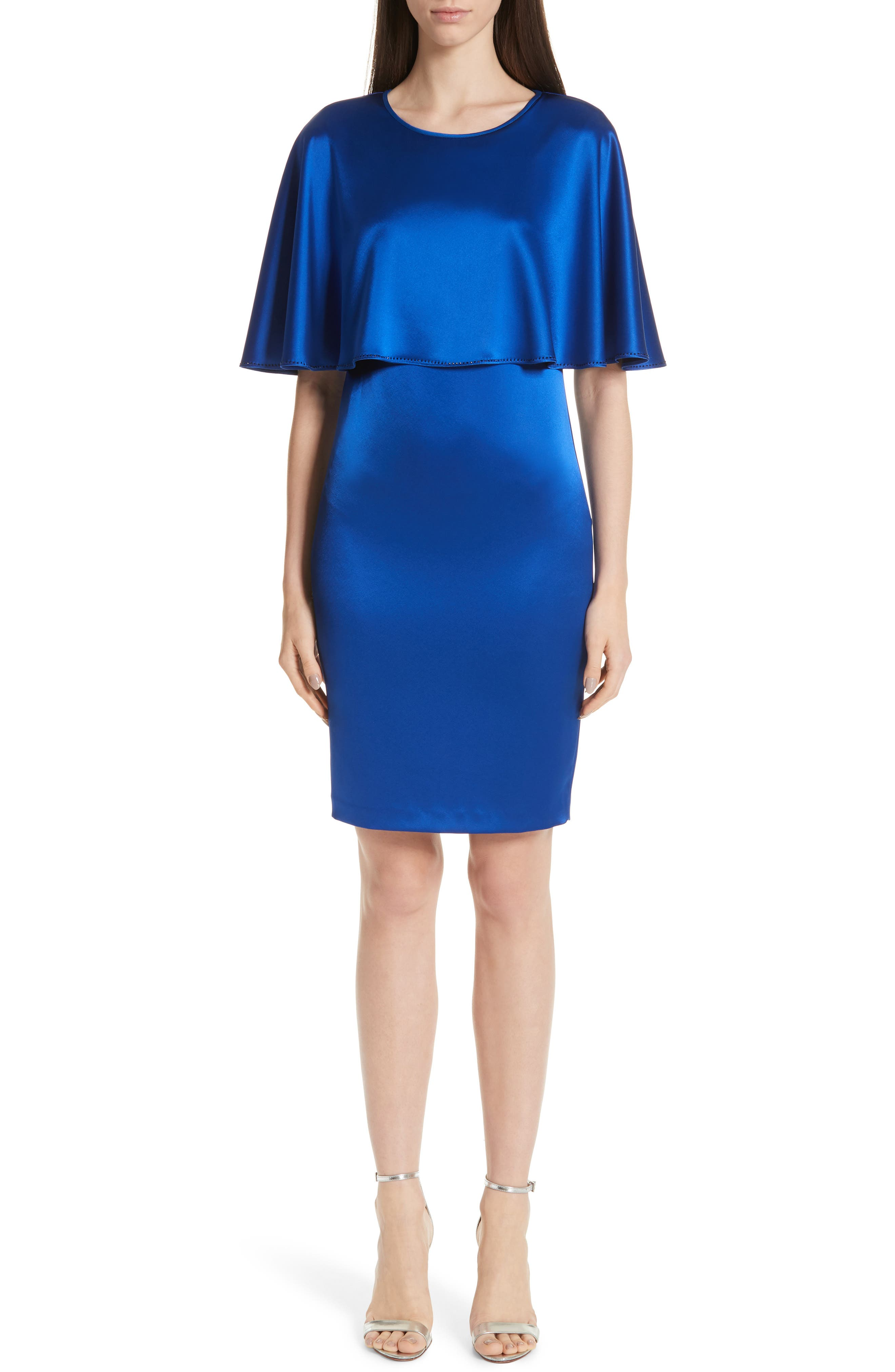 ST. JOHN COLLECTION Lighweight Liquid Satin Dress, Main, color, AZZURINE