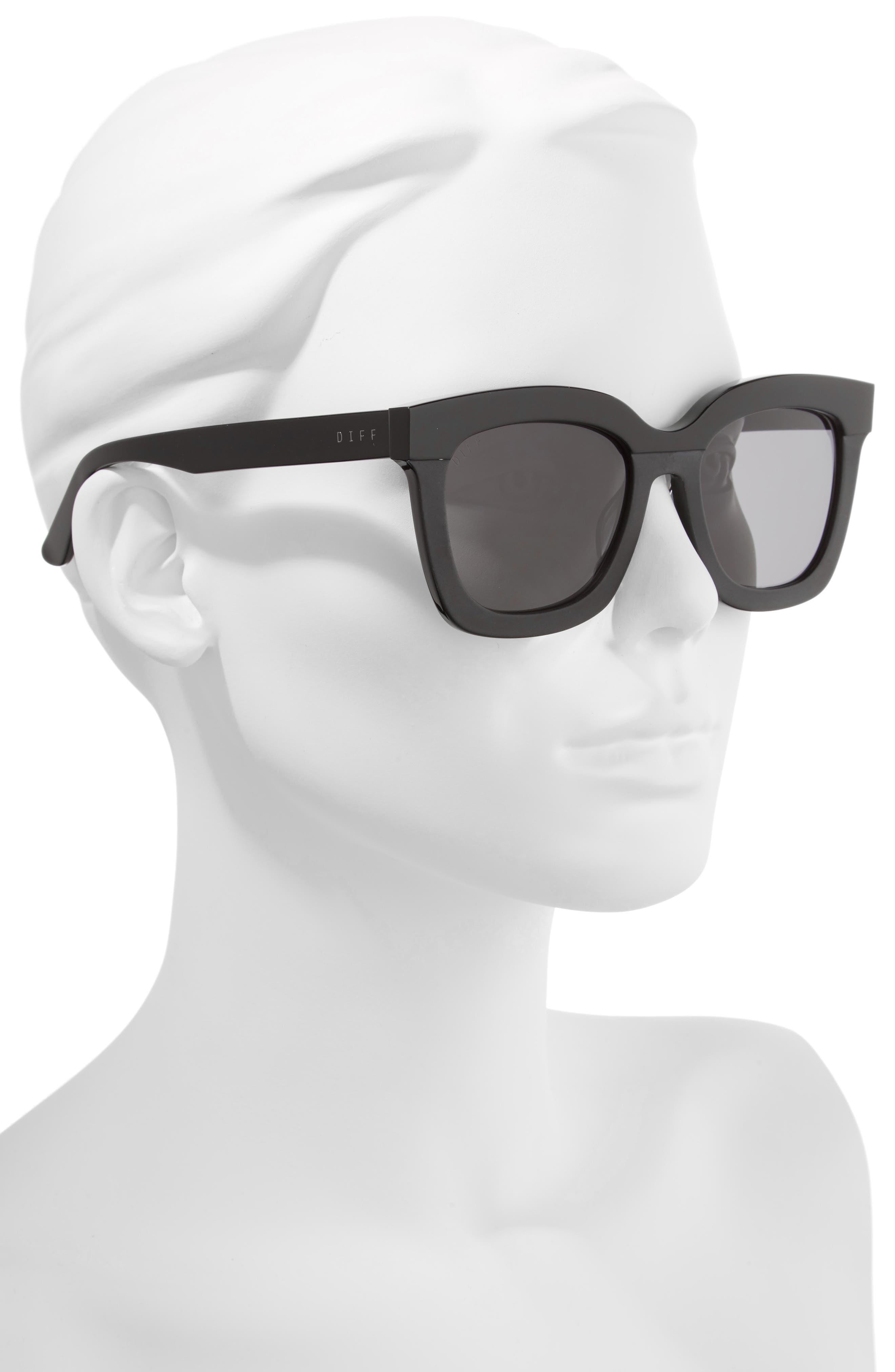 DIFF, Carson 53mm Polarized Square Sunglasses, Alternate thumbnail 2, color, BLACK/ GREY