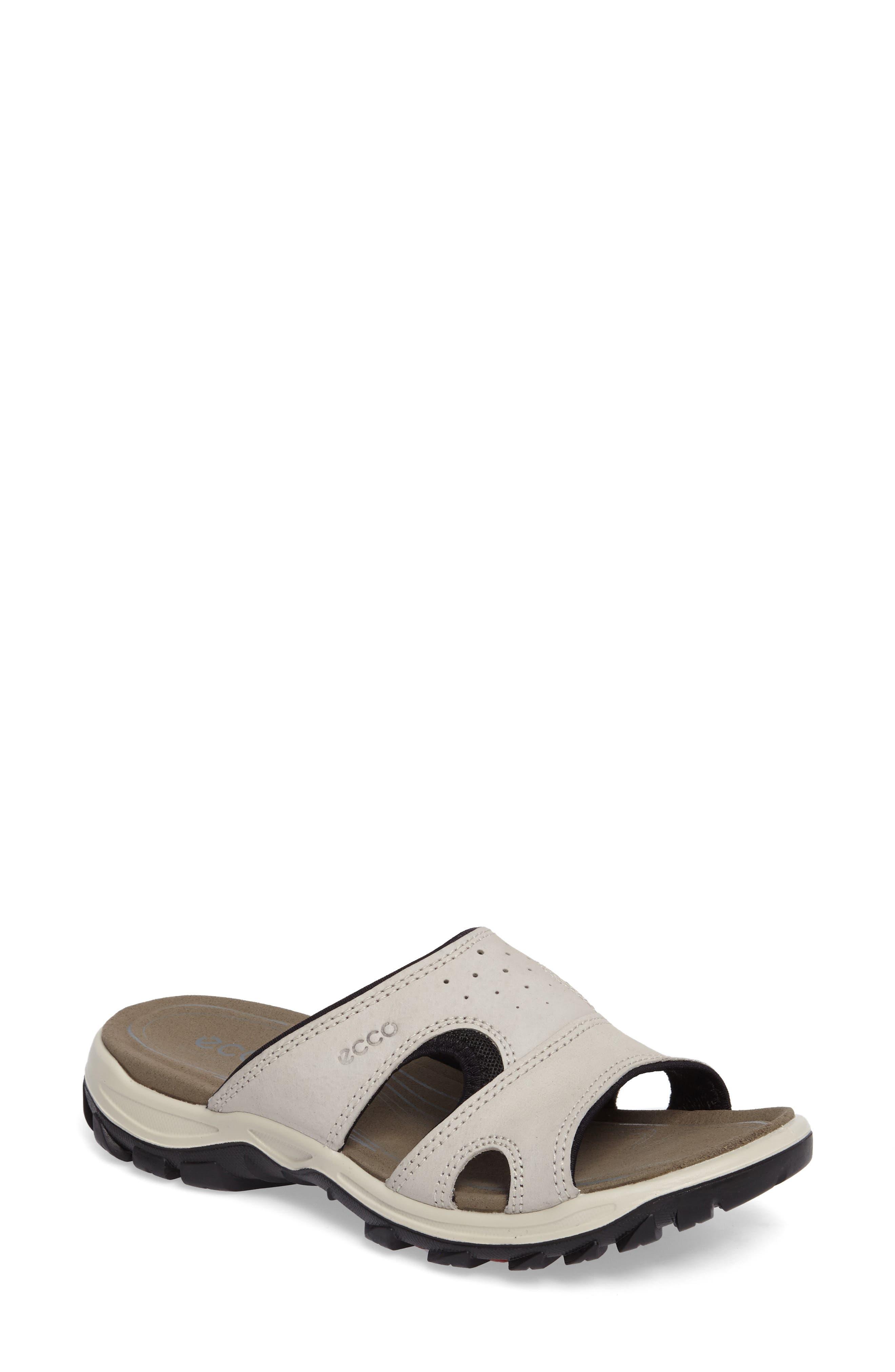 ECCO Offroad Lite Slide Sandal, Main, color, GRAVEL/ BLACK LEATHER