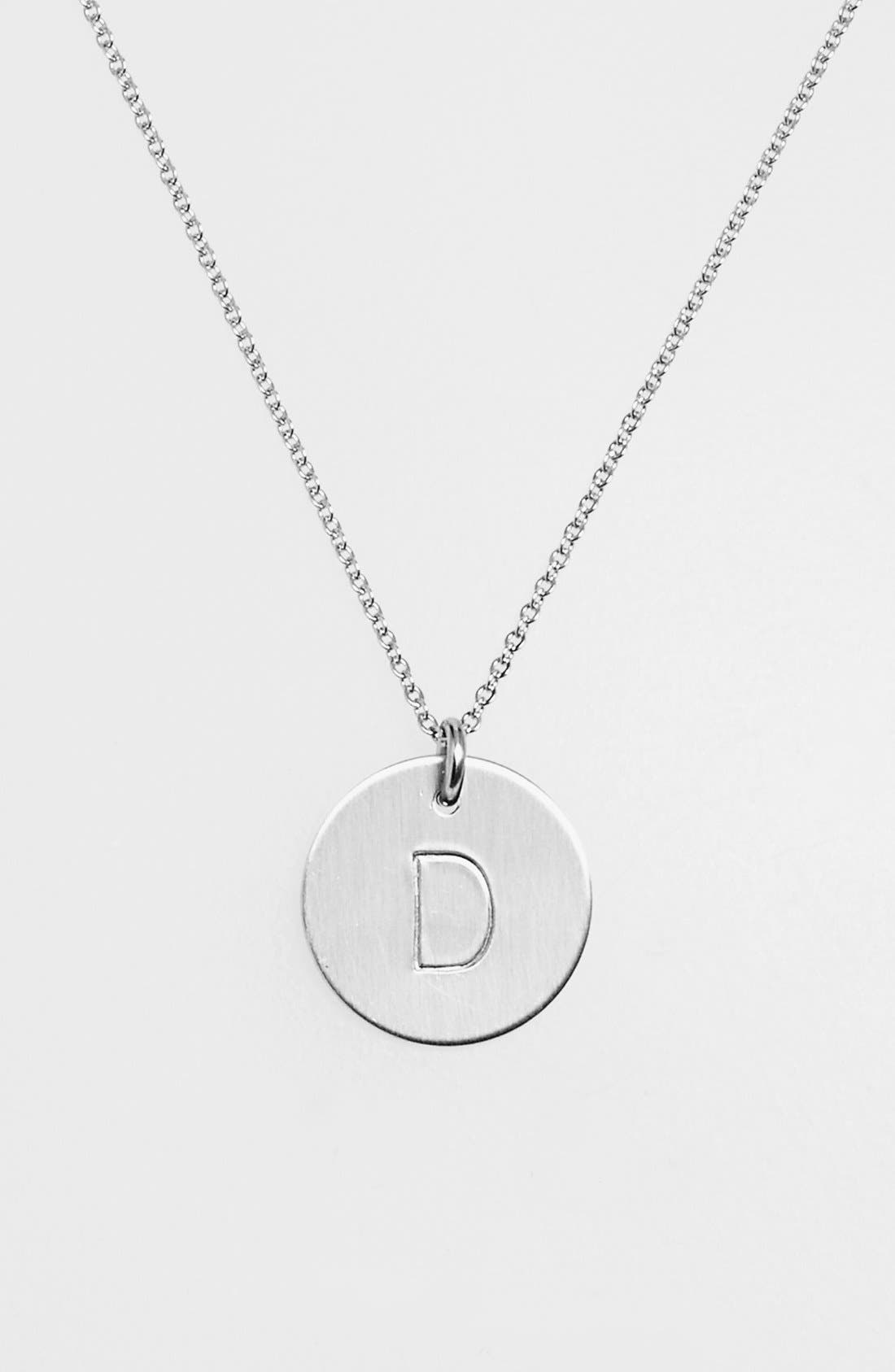 NASHELLE, Sterling Silver Initial Disc Necklace, Alternate thumbnail 2, color, STERLING SILVER D