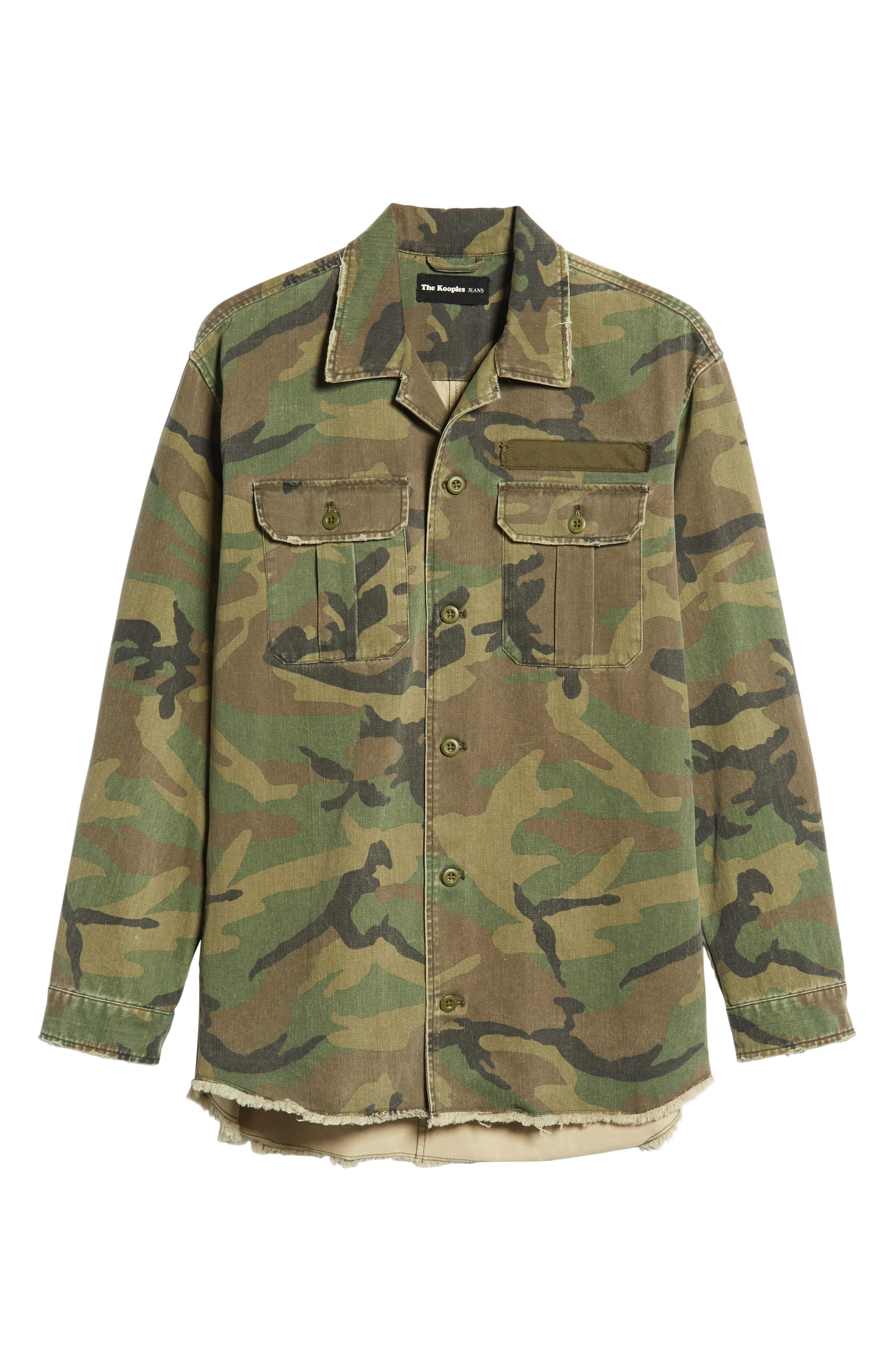 THE KOOPLES, Camou Classic Fit Twill Shirt Jacket, Alternate thumbnail 5, color, CAMOUFLAGE