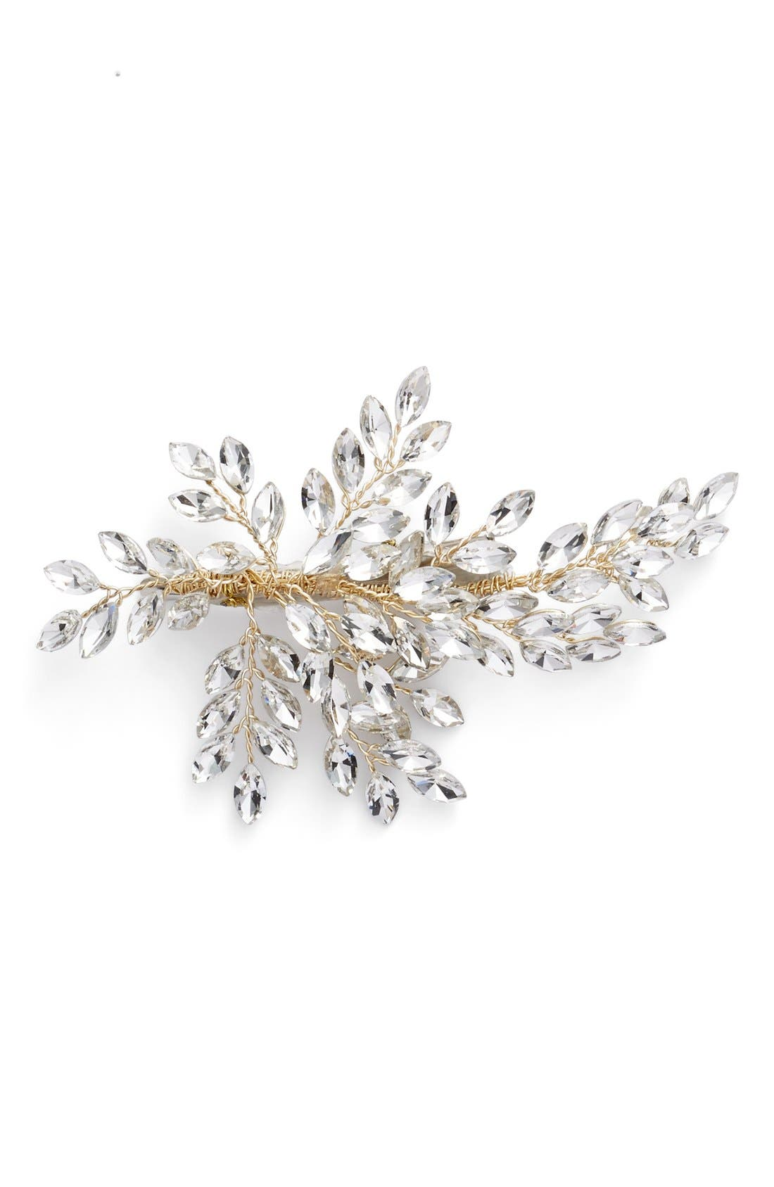BRIDES & HAIRPINS, 'Sahara' Crystal Leaf Bendable Hair Clip, Alternate thumbnail 2, color, GOLD