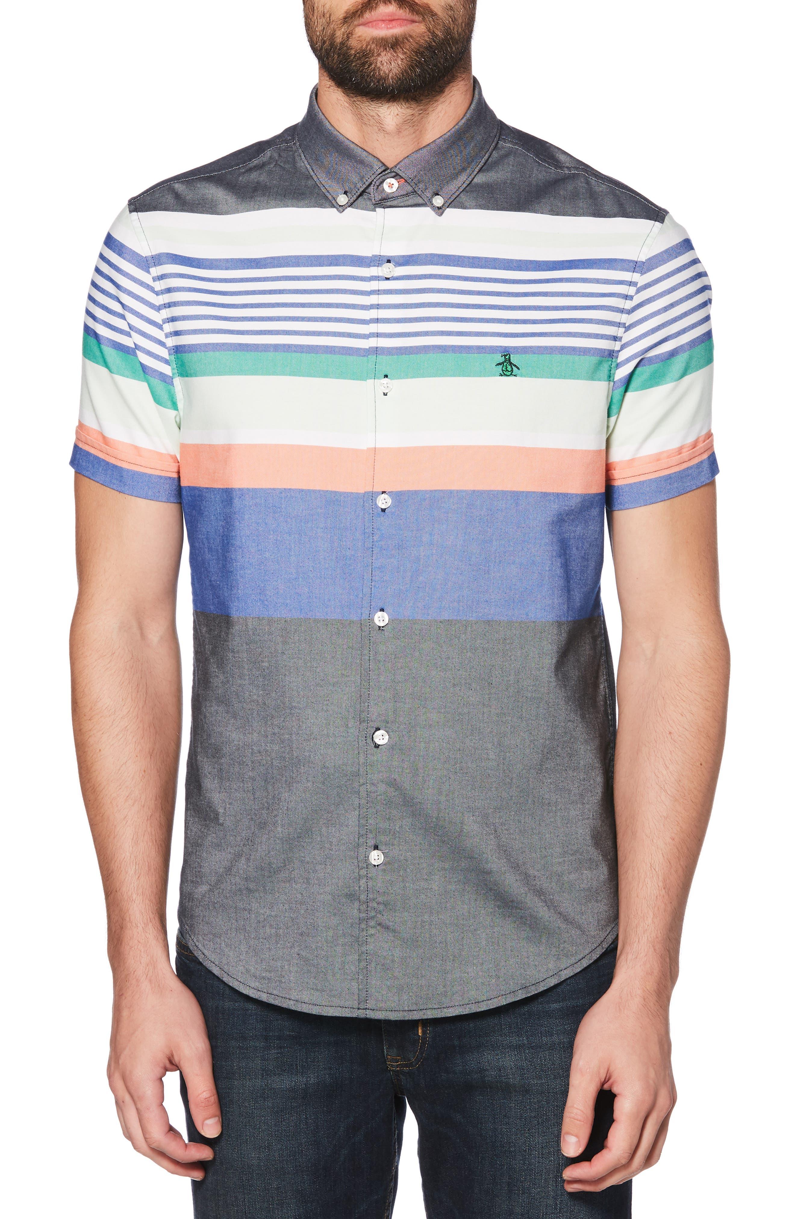 ORIGINAL PENGUIN, Engineered Stripe Woven Shirt, Main thumbnail 1, color, BRIGHT WHITE