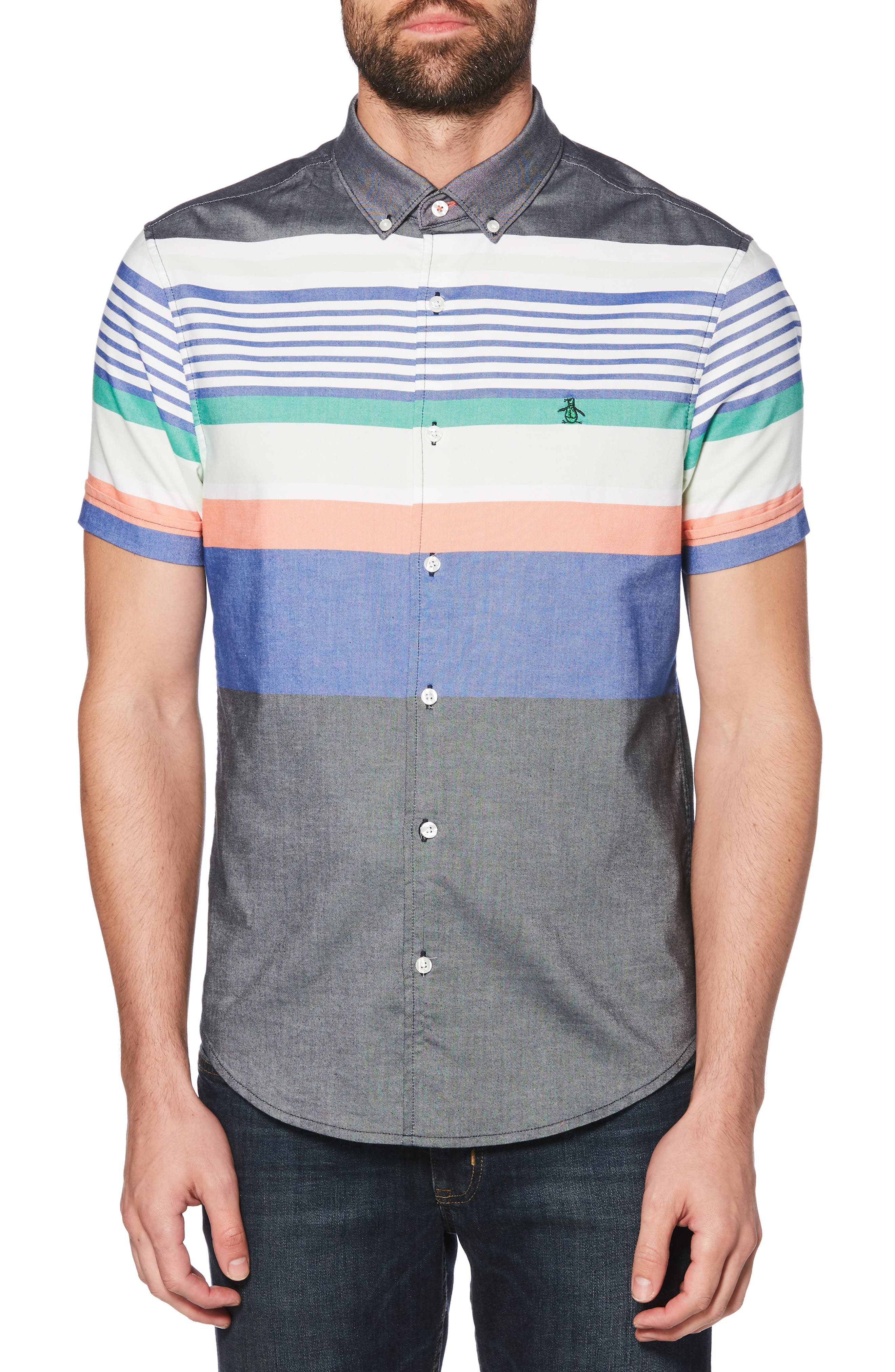 ORIGINAL PENGUIN Engineered Stripe Woven Shirt, Main, color, BRIGHT WHITE