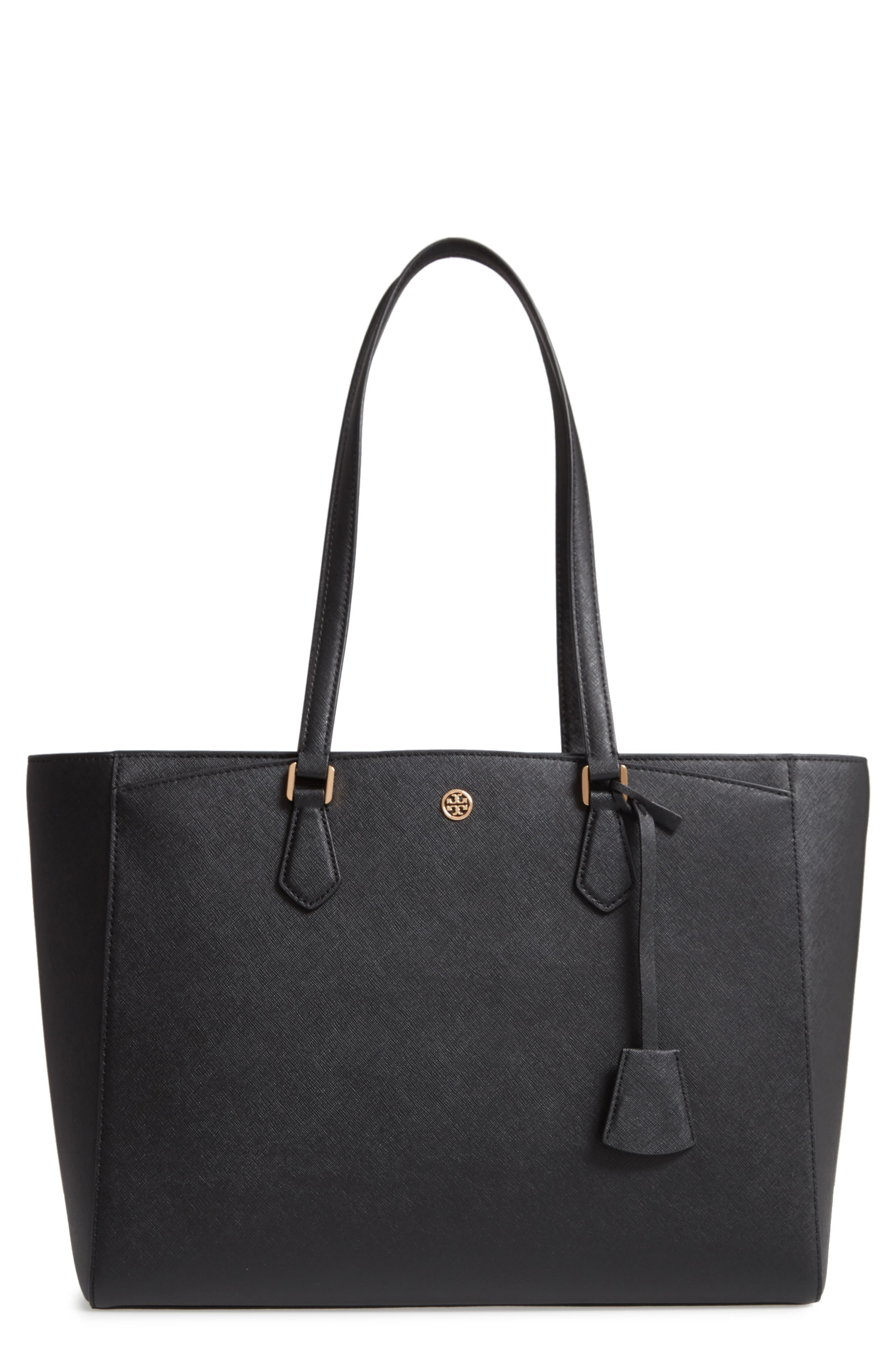 TORY BURCH, Robinson Saffiano Leather Tote, Main thumbnail 1, color, BLACK