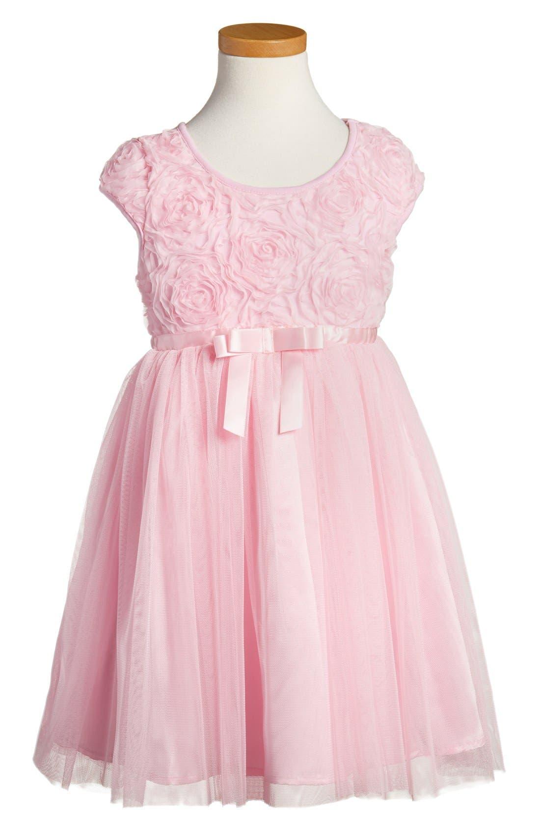 POPATU, Ribbon Rosette Tulle Dress, Main thumbnail 1, color, PINK