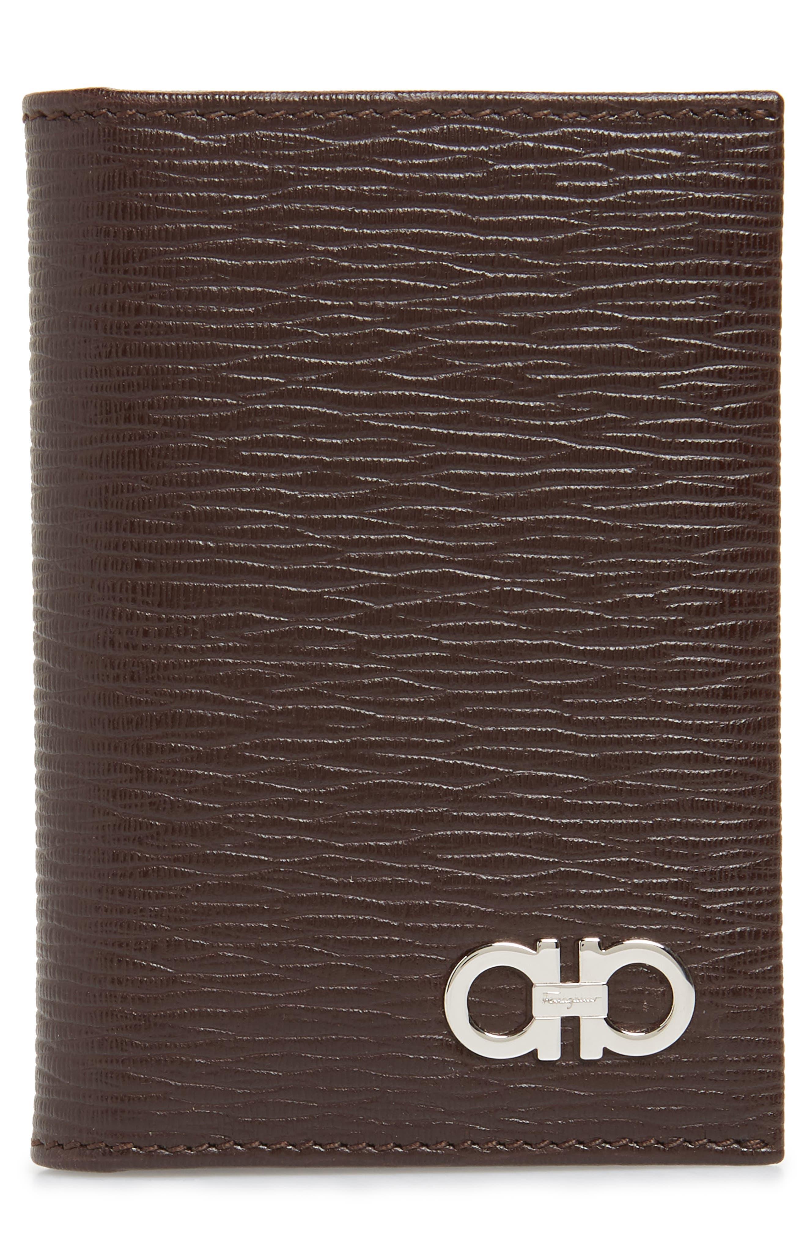 SALVATORE FERRAGAMO Revival Leather Card Case, Main, color, TOBACCO
