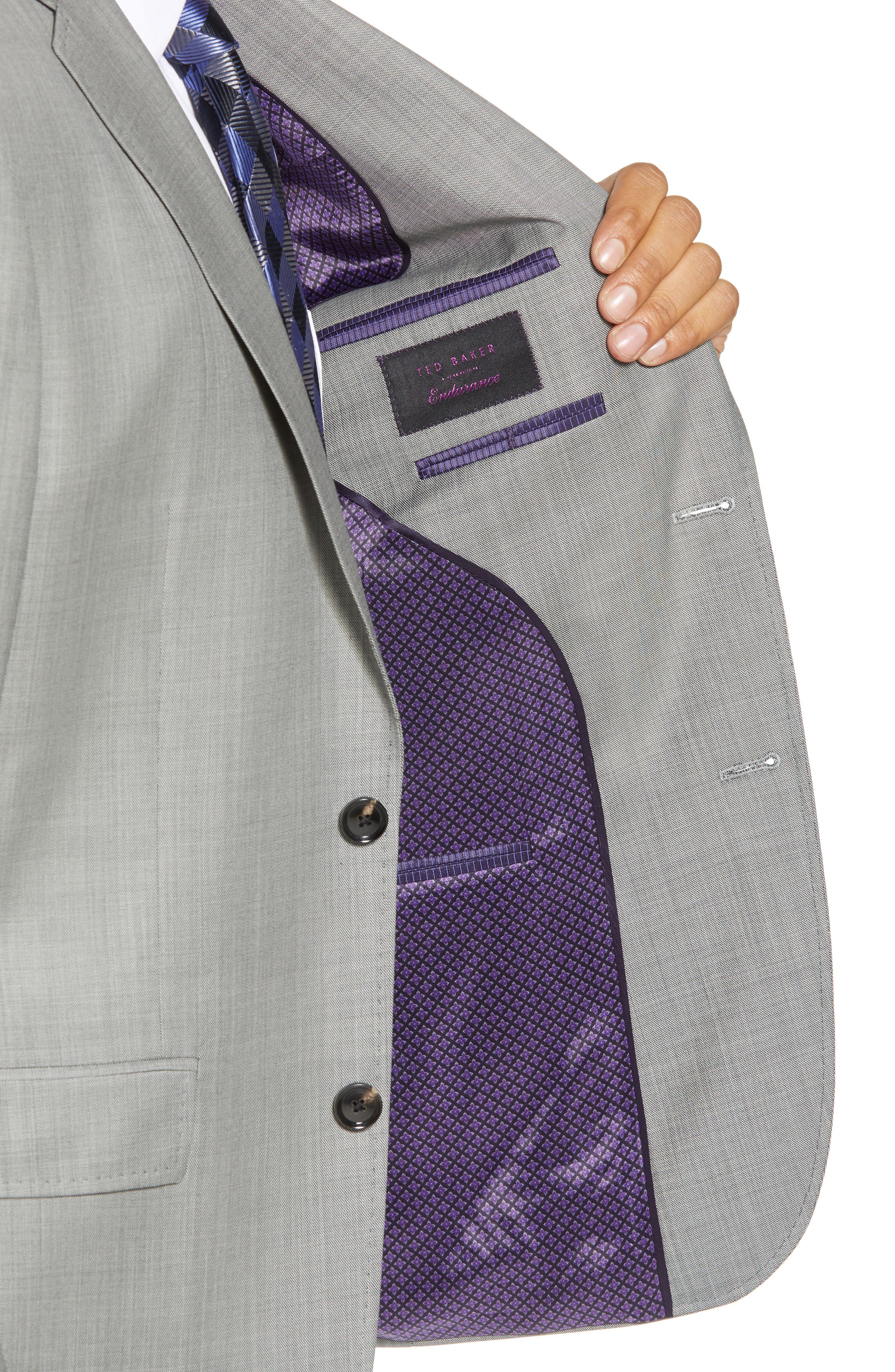 TED BAKER LONDON, Jay Trim Fit Solid Wool Suit, Alternate thumbnail 4, color, LIGHT GREY
