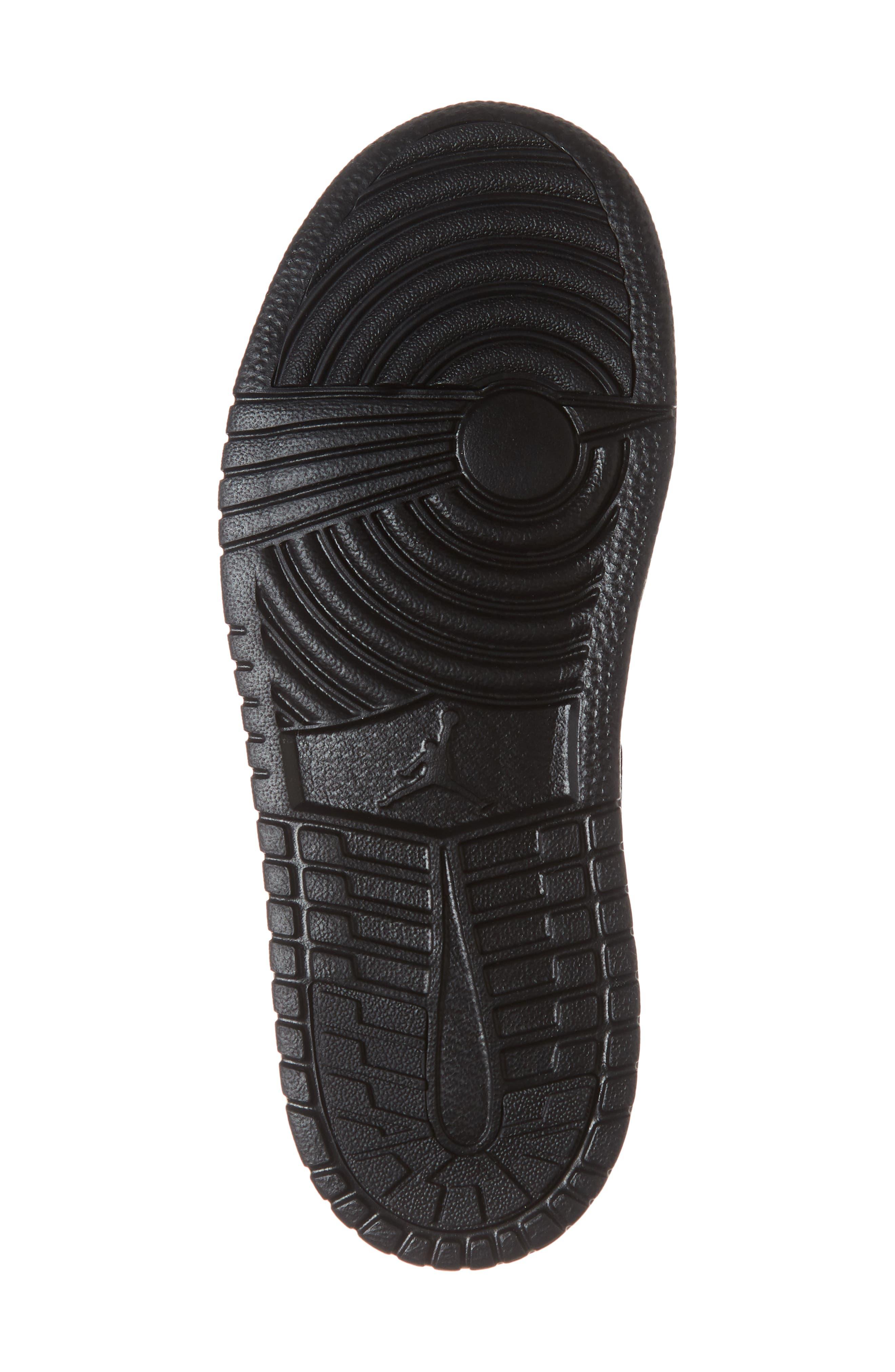 JORDAN, 1 Mid Basketball Shoe, Alternate thumbnail 6, color, BLACK/ DARK GREY