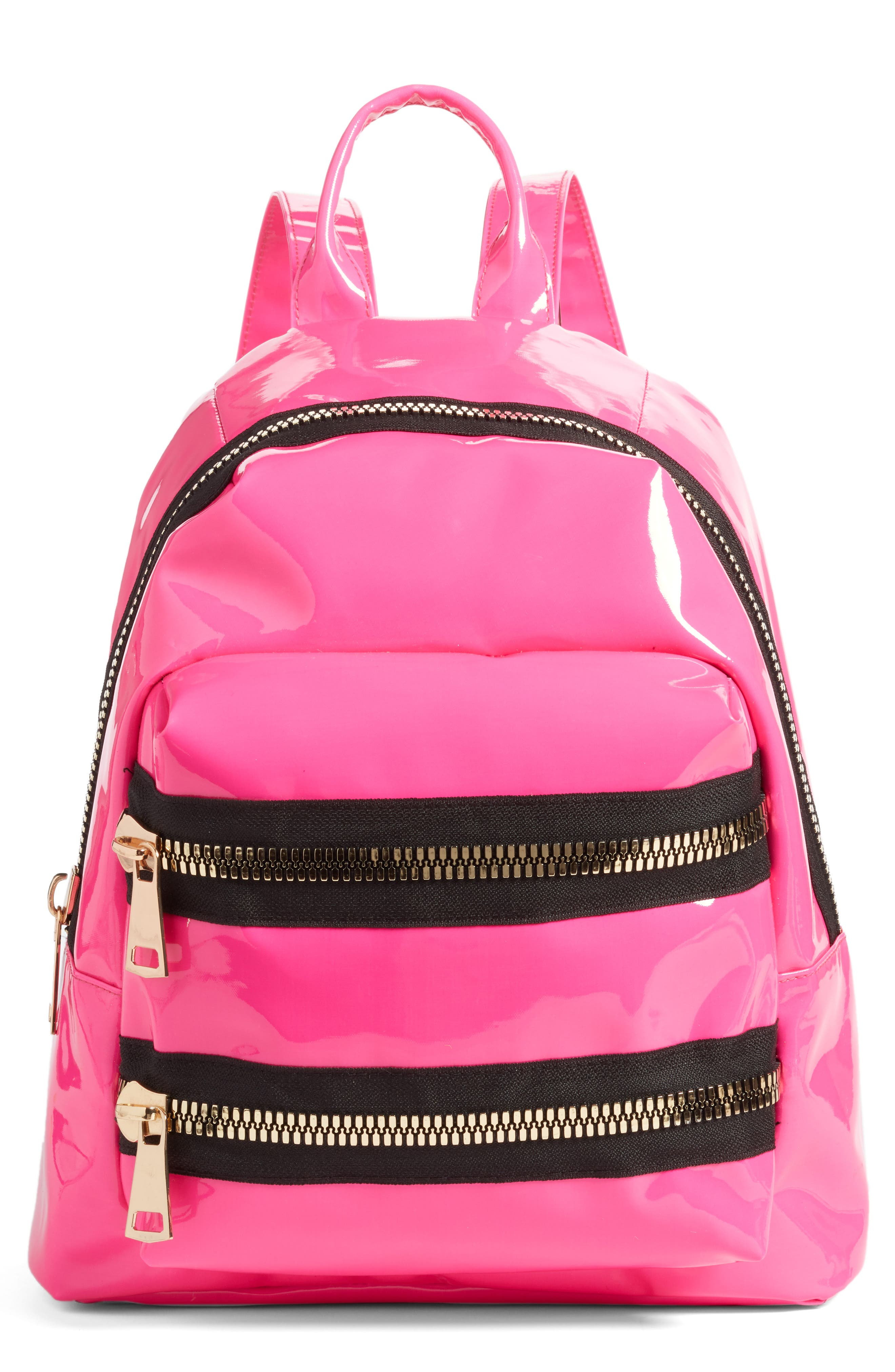 JANE & BERRY, Double Zip Faux Patent Leather Backpack, Main thumbnail 1, color, PINK