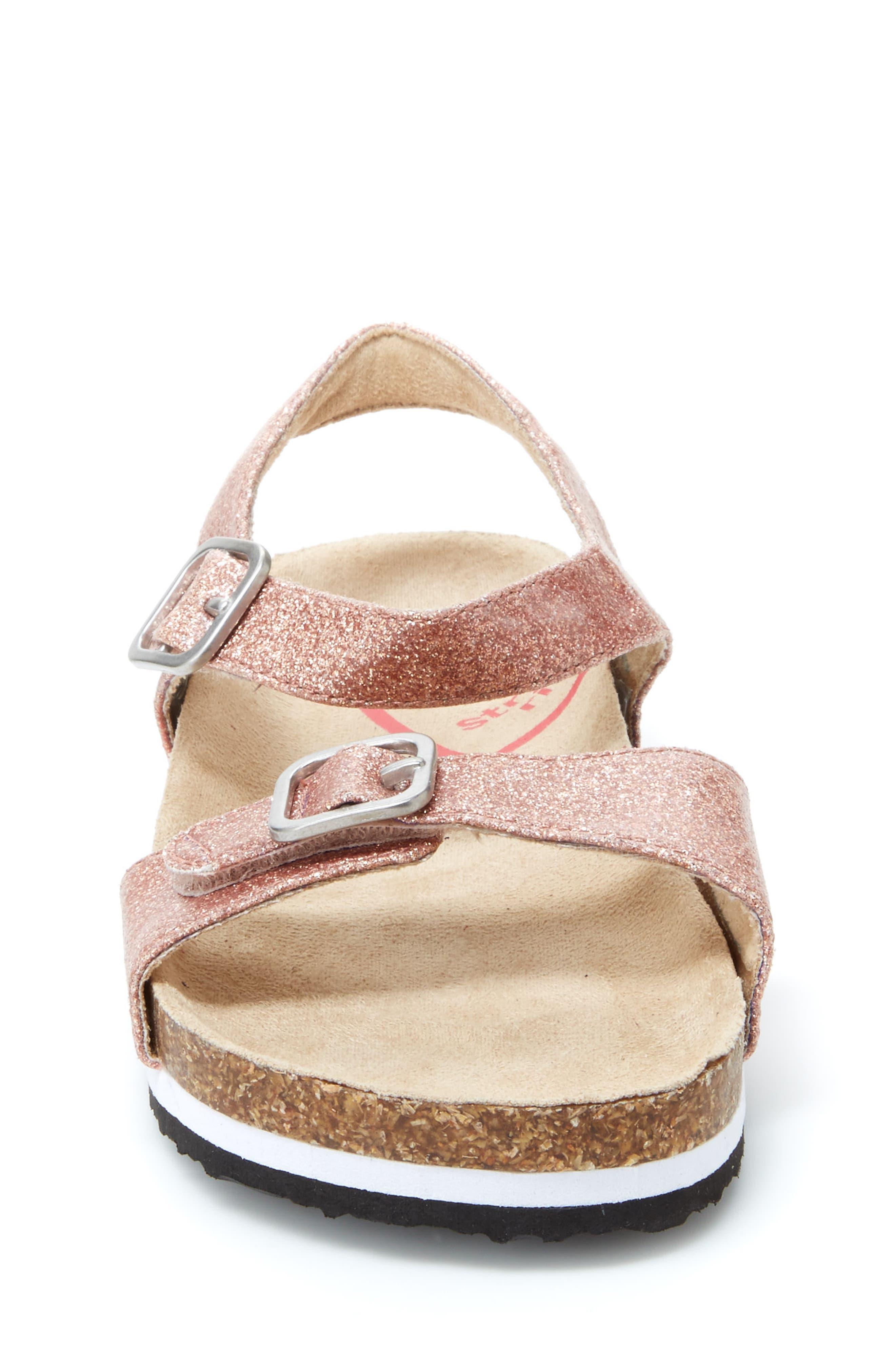 STRIDE RITE, Zuly Glitter Sandal, Alternate thumbnail 3, color, ROSE GOLD